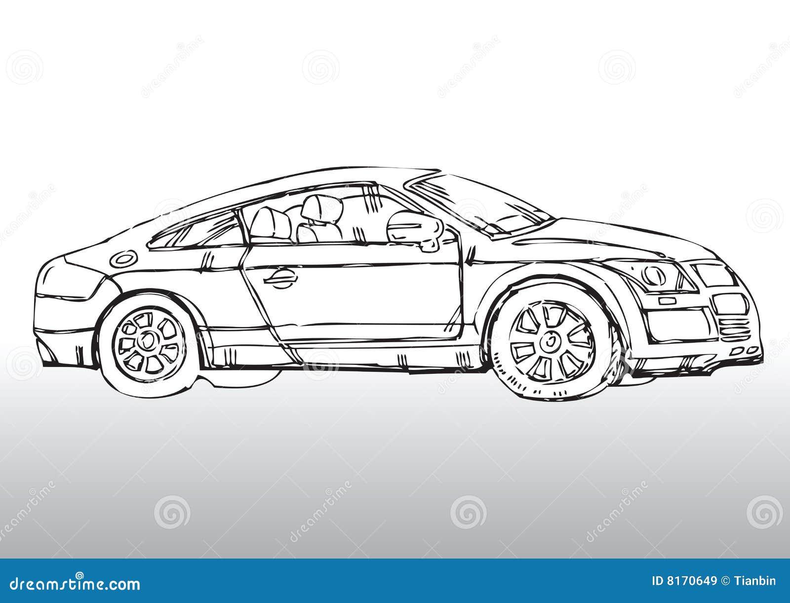 Ręka rysujący samochód