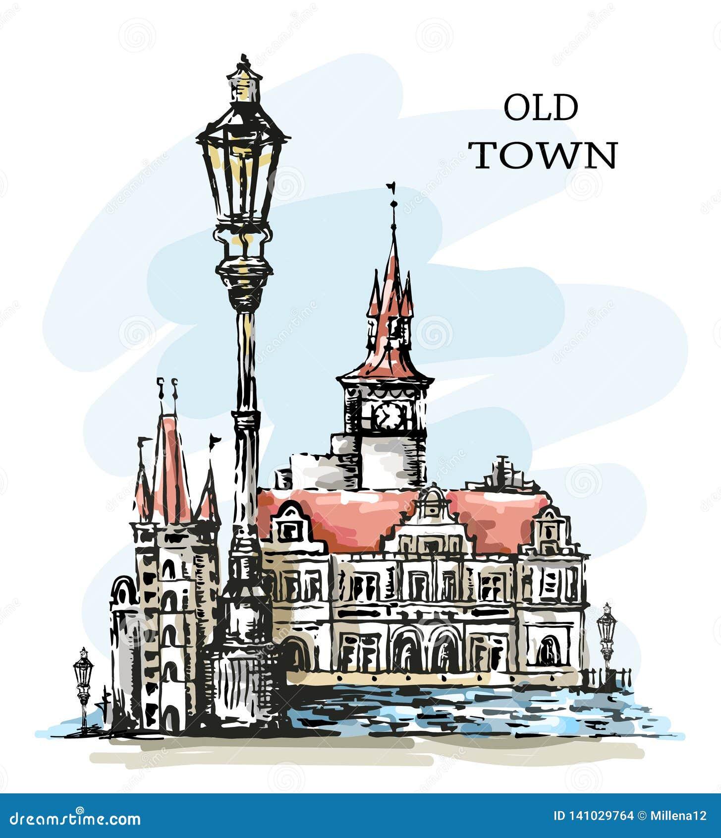 Ręka rysujący stary miasteczko Piękny grodzki widok stara architektury Ð ¡ pikapu budynki, rocznika lampion i zatoka, nakreślenie