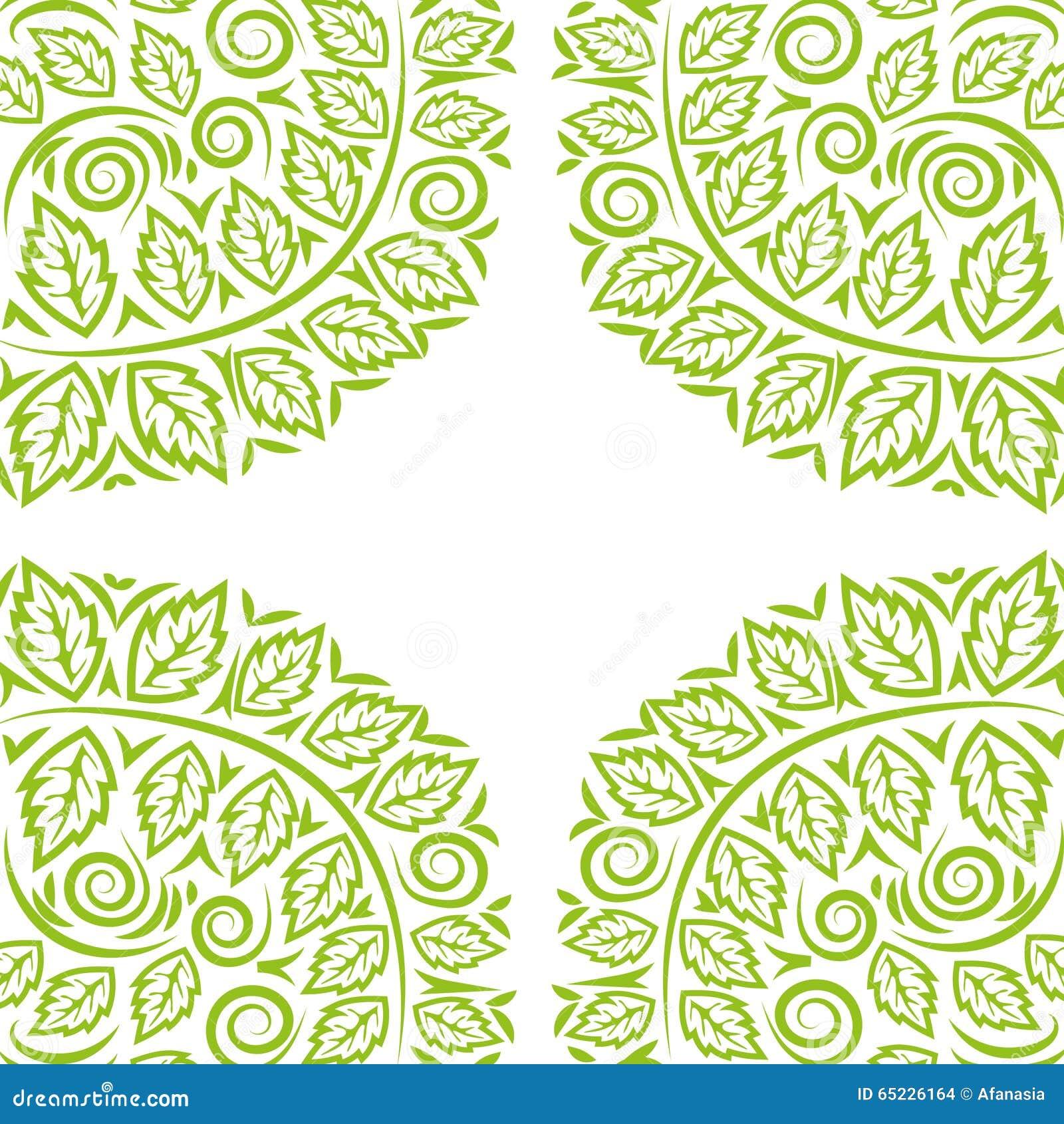 Ręka rysujący tło z zieleń zawijasem i liśćmi wektory projektują eco grupującego ilustracyjnego warstew wektor