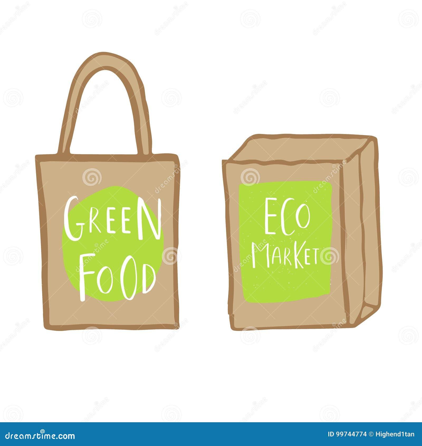 Ręka rysujący torba na zakupy z pisać list zielonego jedzenie i eco wprowadzać na rynek