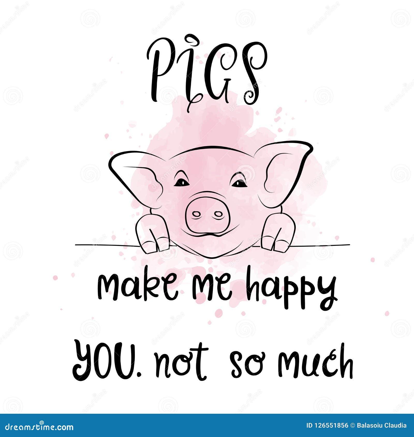 Ręka rysujący typografia plakat z kreatywnie sloganem: Świnie robią ja