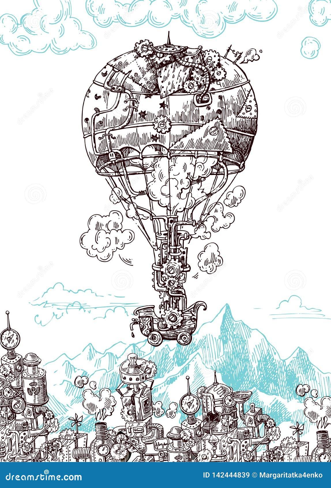 Ręka rysujący wektorowego nakreślenia rocznika ilustracyjny samolot