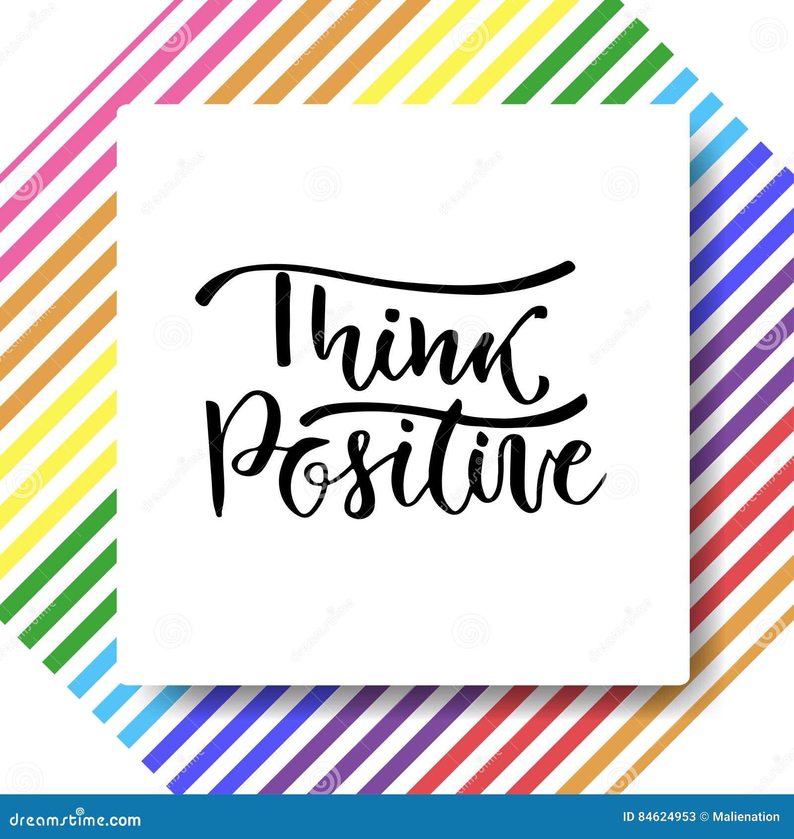 Ręka Rysujący Wektorowy Literowanie Pozytywna Myśl