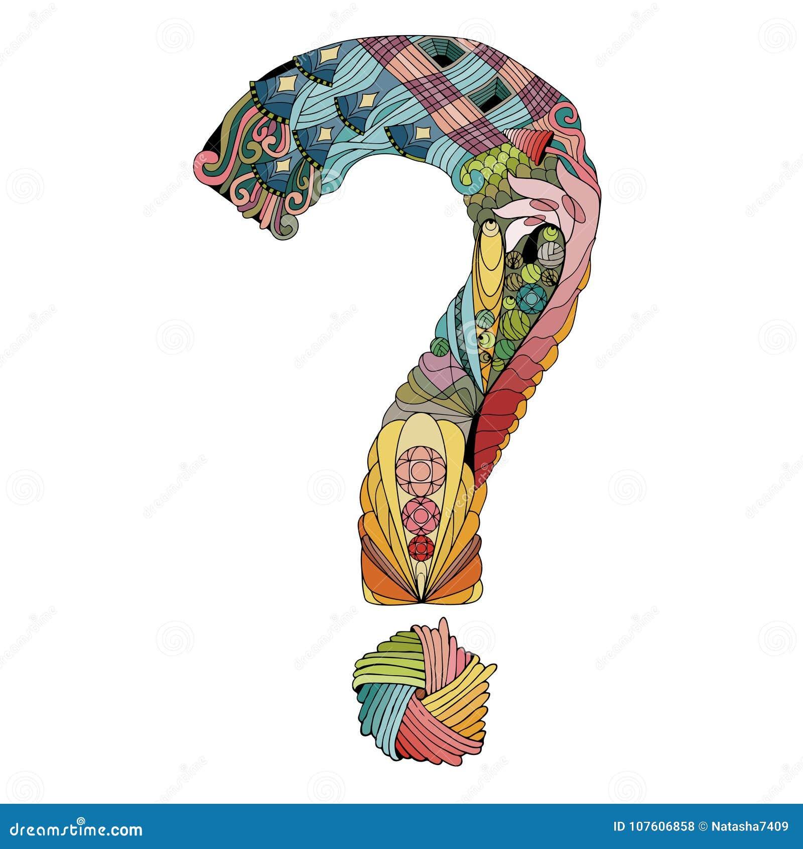Ręka Rysujący Zentangle Znak Zapytania Wektorowy Dekoracyjny