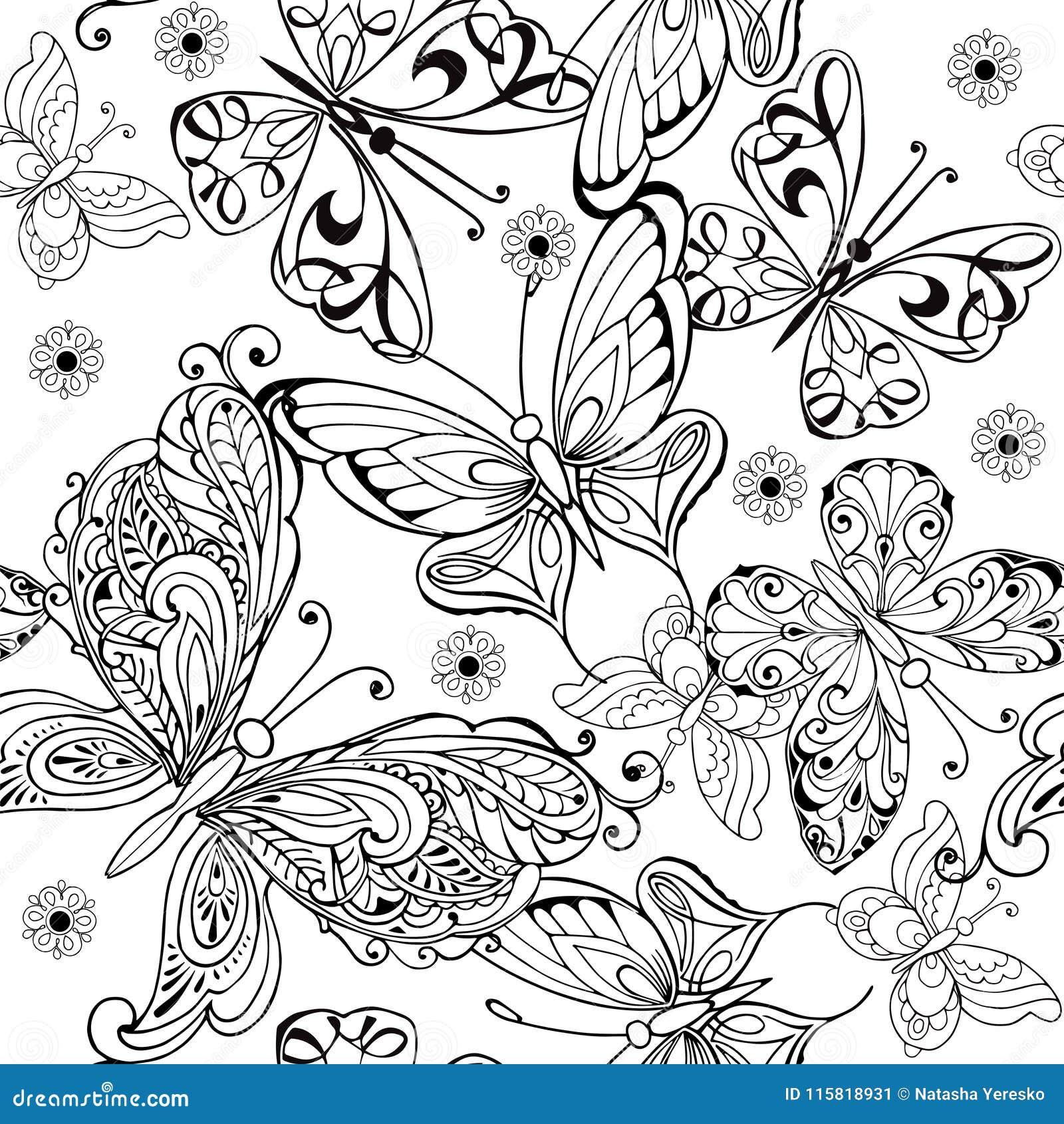 Ręka rysuje bezszwowego wzór motyle Wektorowy bezszwowy wzór motyle dla antej stres kolorystyki strony