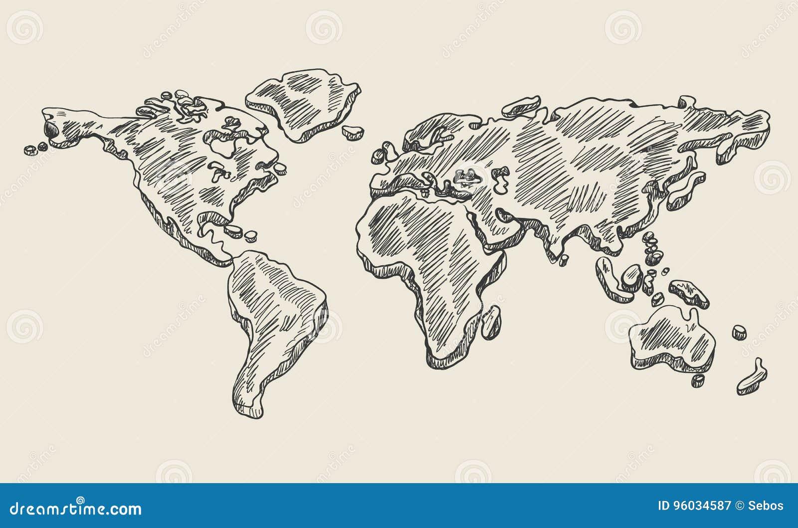 Ręka rysunku doodle światowa mapa Rocznika ziemski wektorowy nakreślenie