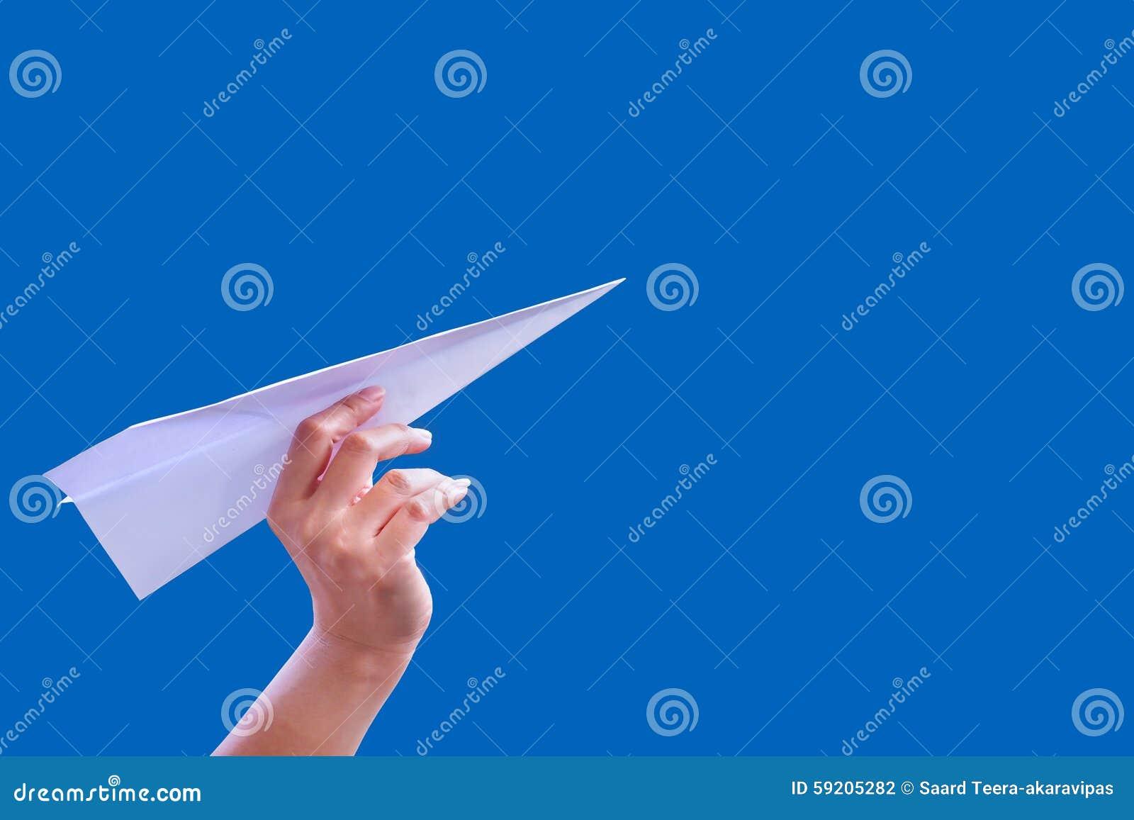 Ręka samolotu papieru fałd sukces dla projekt rakiety papieru