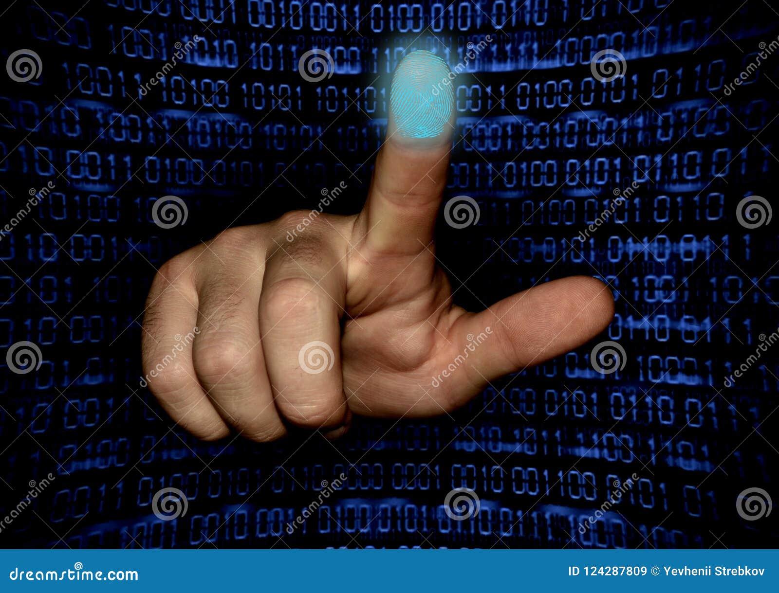 Ręka skanuje odcisk palca palec wskazujący