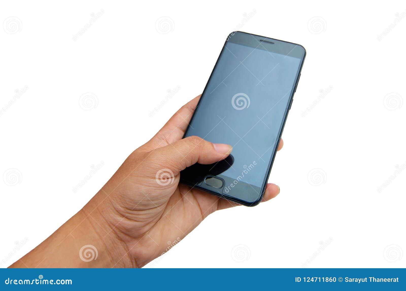 Ręka telefon Odizolowywa rękę naciskałem Czarny telefon na białym tle Odizolowywa