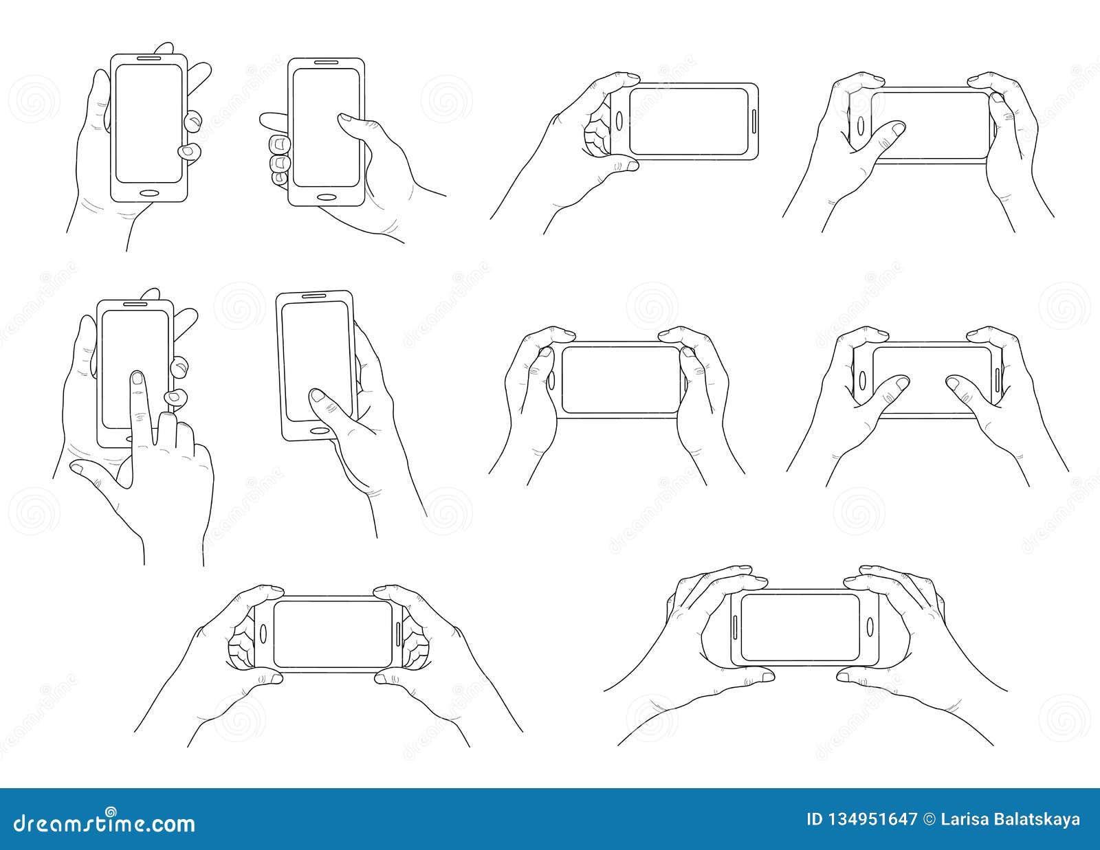 Ręka telefon Set różni gesty Odosobniony kontur wektor