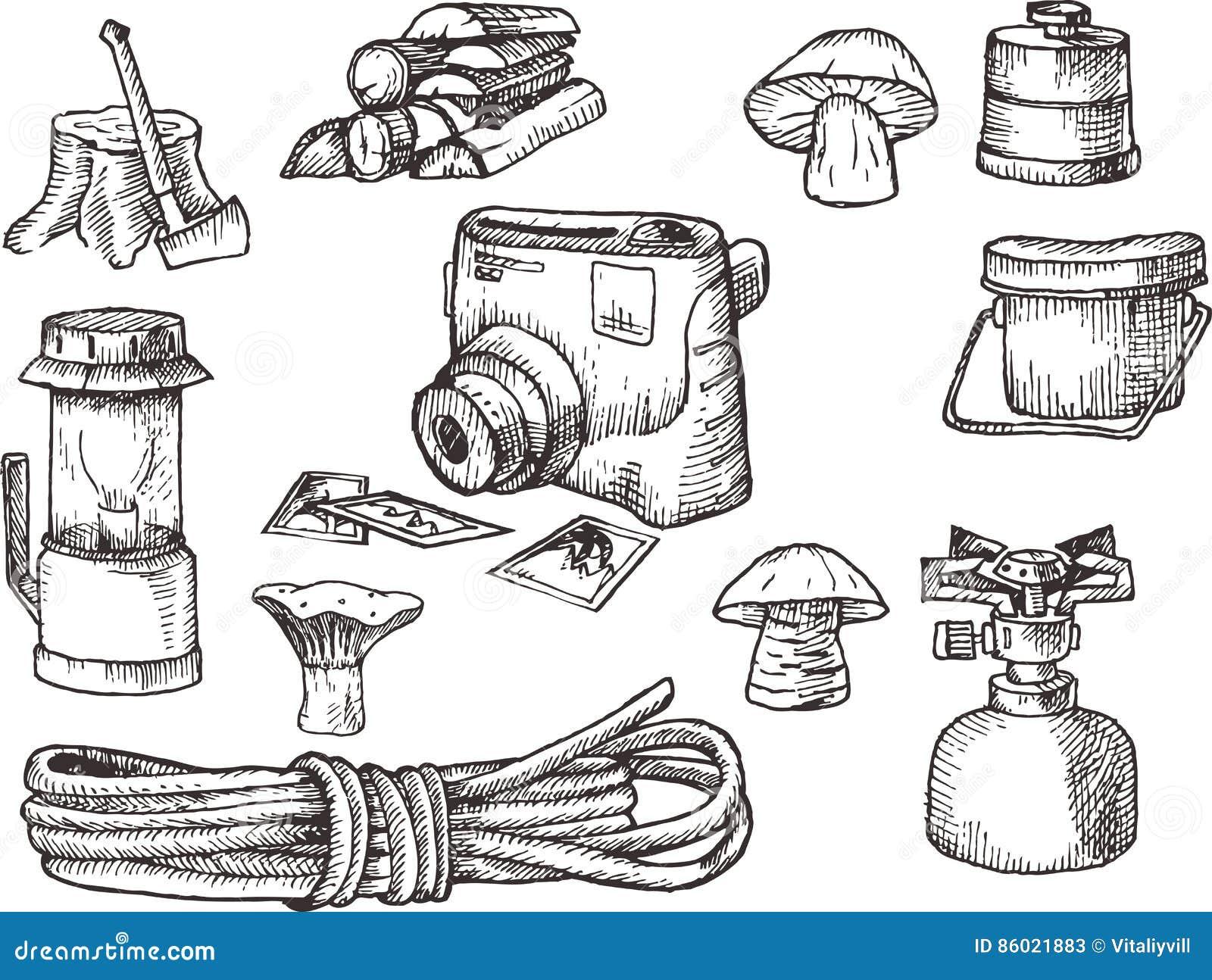 Ręka tonie zestaw, set wycieczkować, obozuje wyposażenie, czarny i biały, skanująca ilustracja,