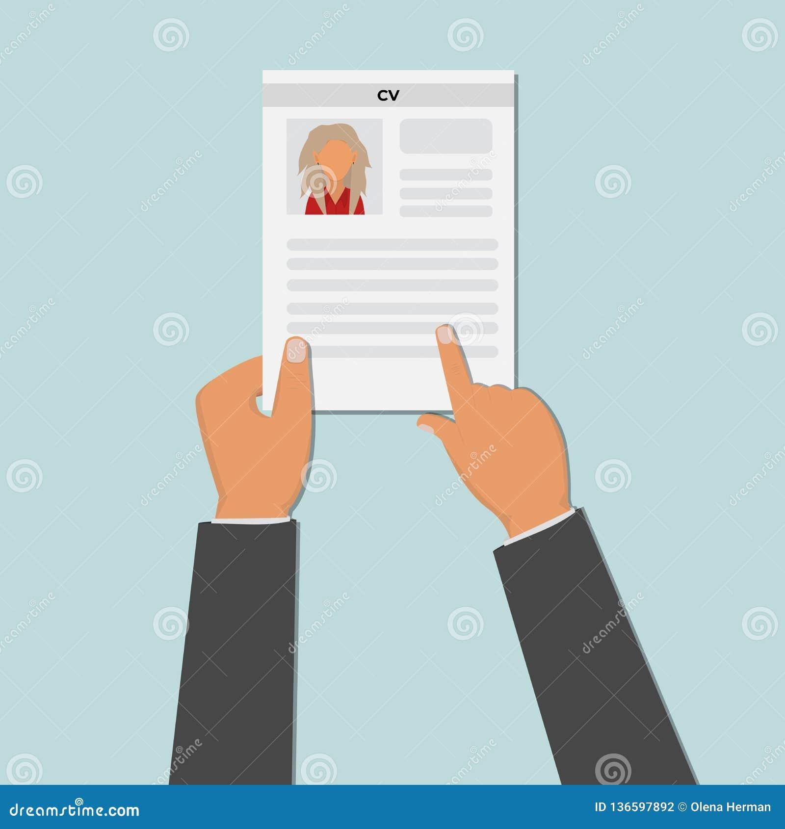 Ręka trzyma cv życiorysu dokument Akcydensowa agencja Stosować dla pracy Osoby werbująca pojęcie wektor