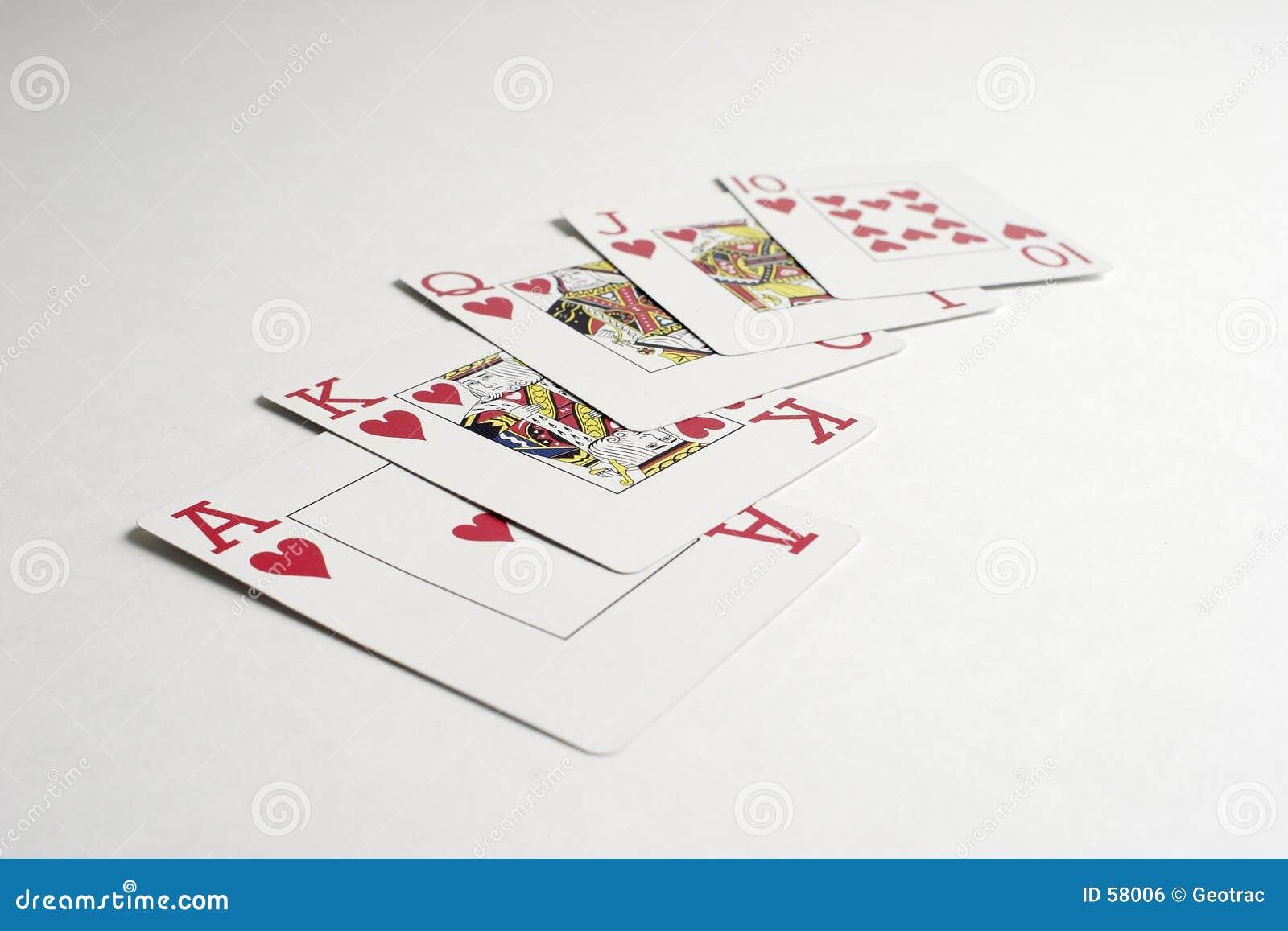 Ręka wezbranego poker królewski zwycięstwo