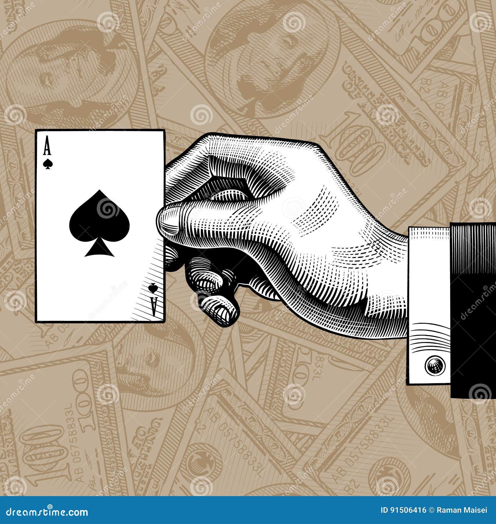 Ręka z as rydla karta do gry na dolarach deponuje pieniądze nie