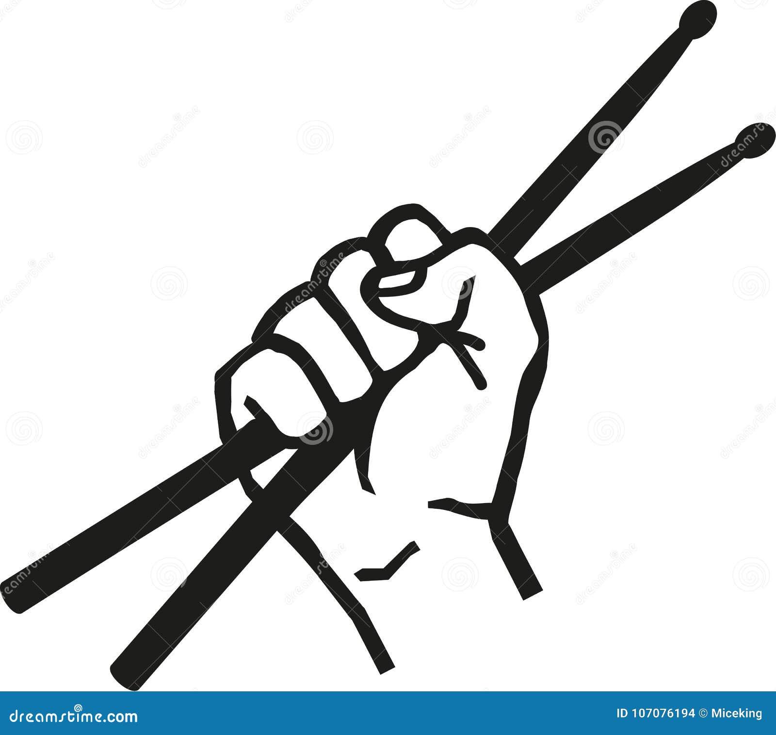 Ręka z bębenów kijami