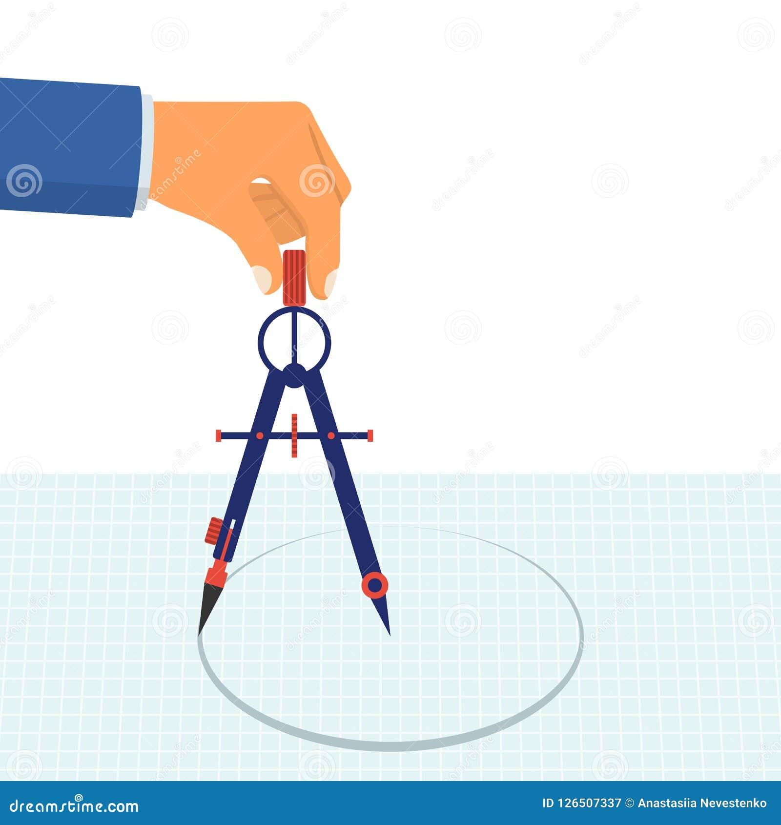 Ręka z kompasem dla rysować