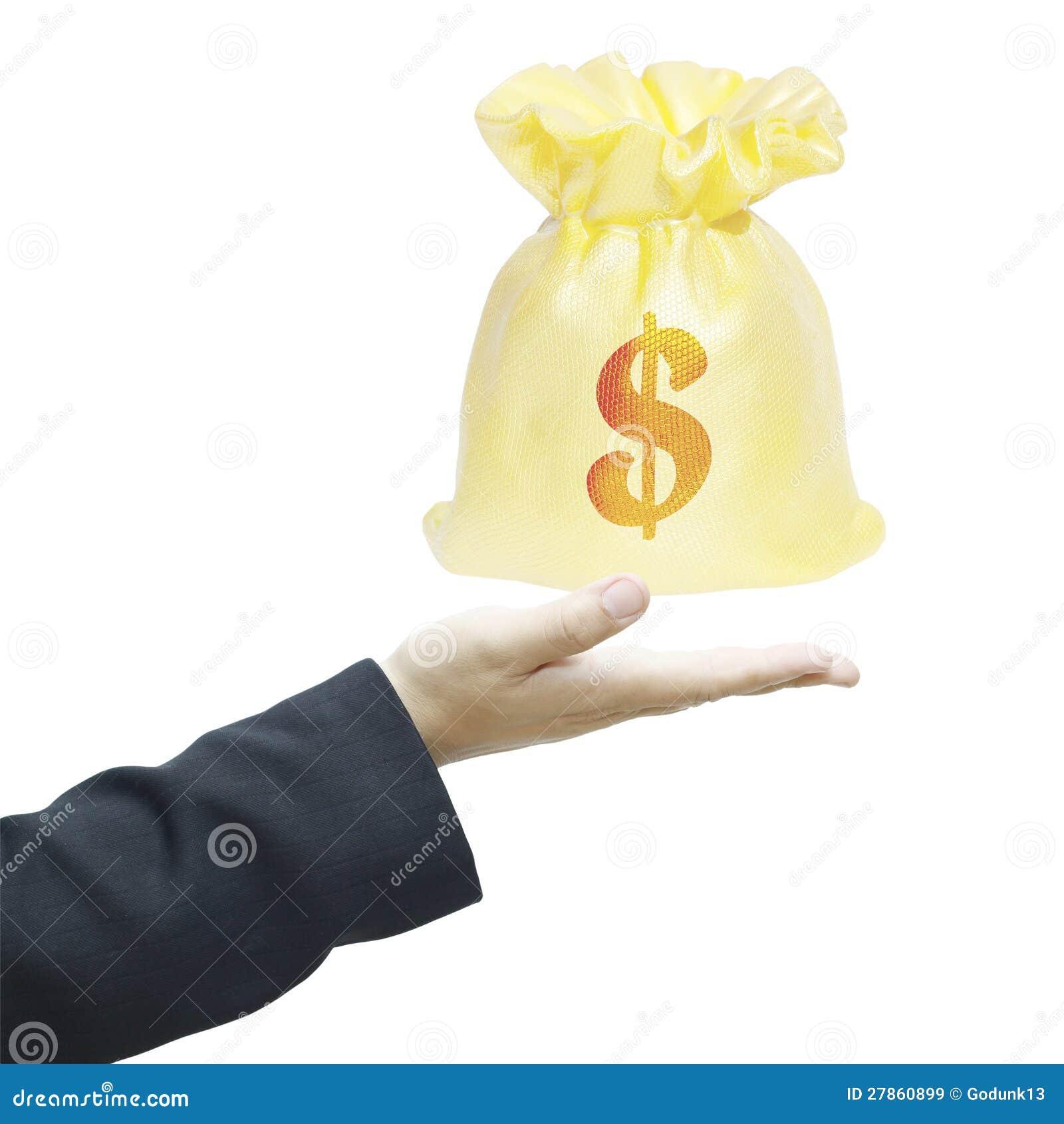 Ręka z pieniądze torbą