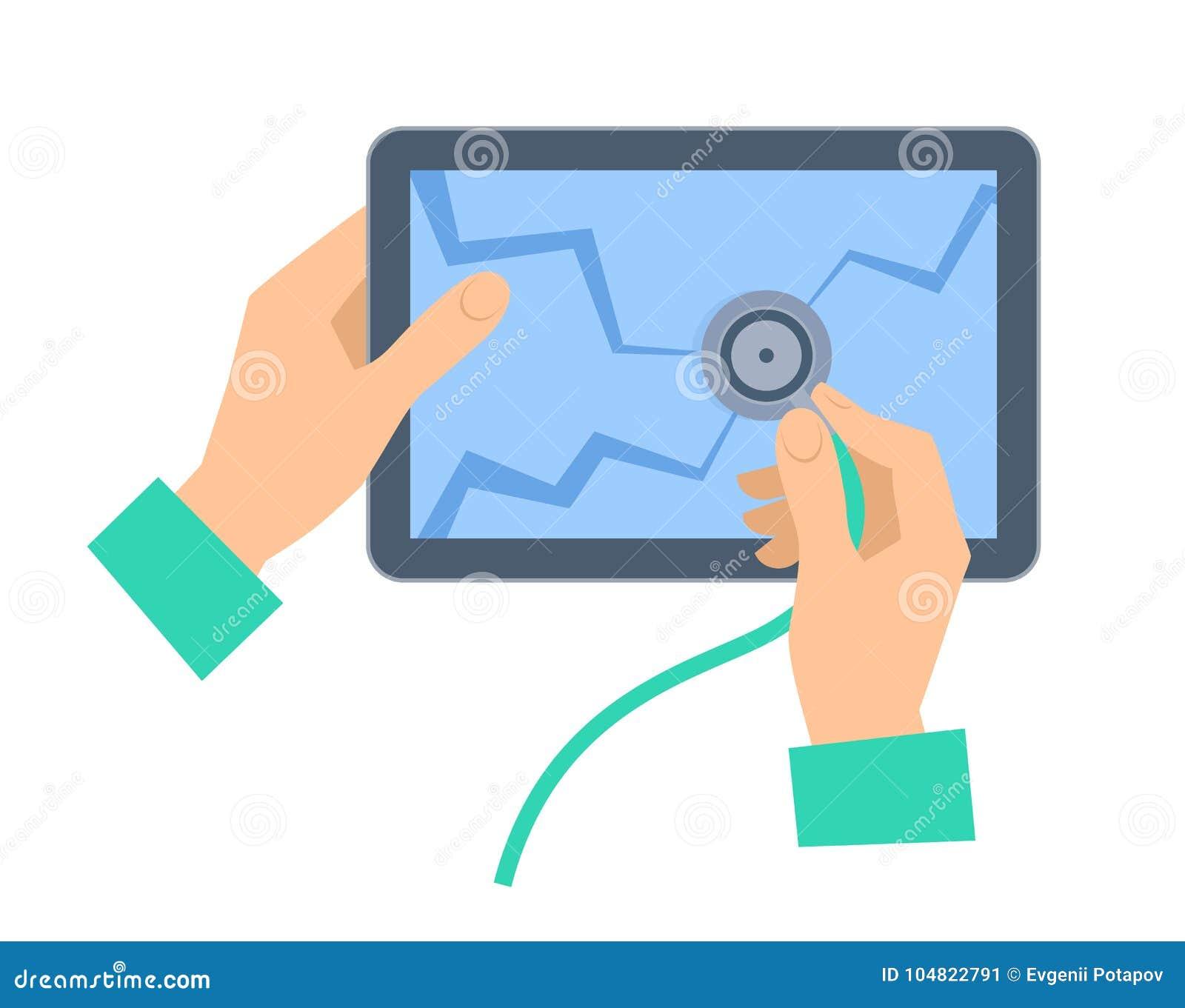 Ręka z stetoskopem examing łamającego pastylka komputer osobistego Remontowy conce