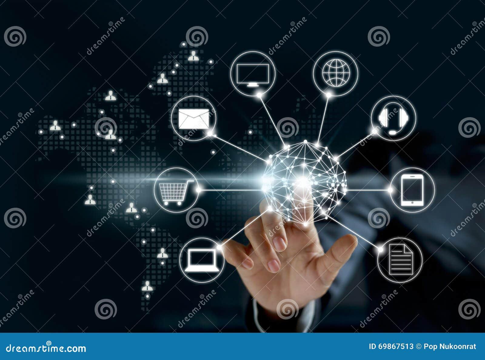 Ręki dotyka okrąg globalnej sieci związek, Omni kanał