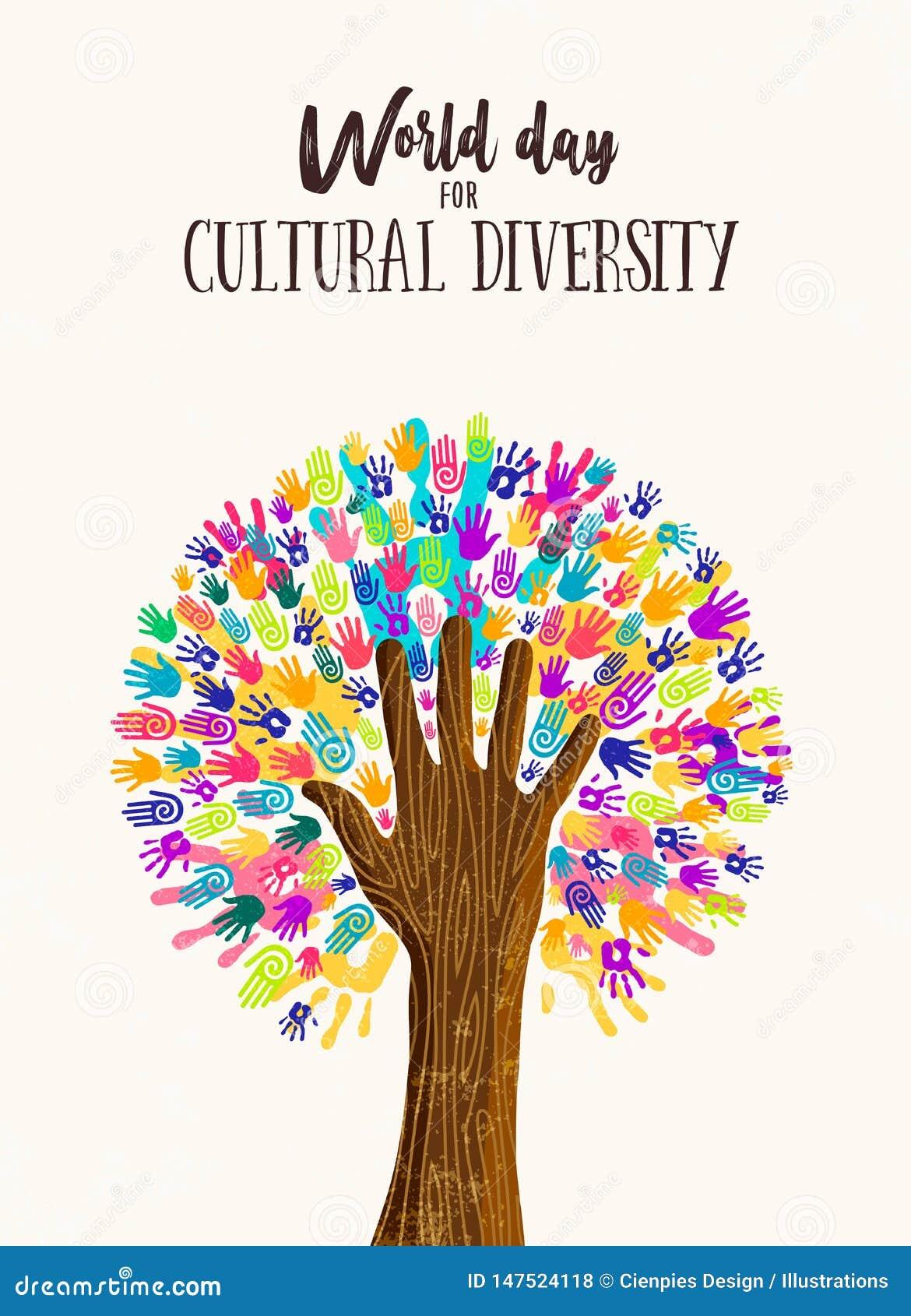 Ręki drzewny pojęcie dla różnorodność kulturalna dnia