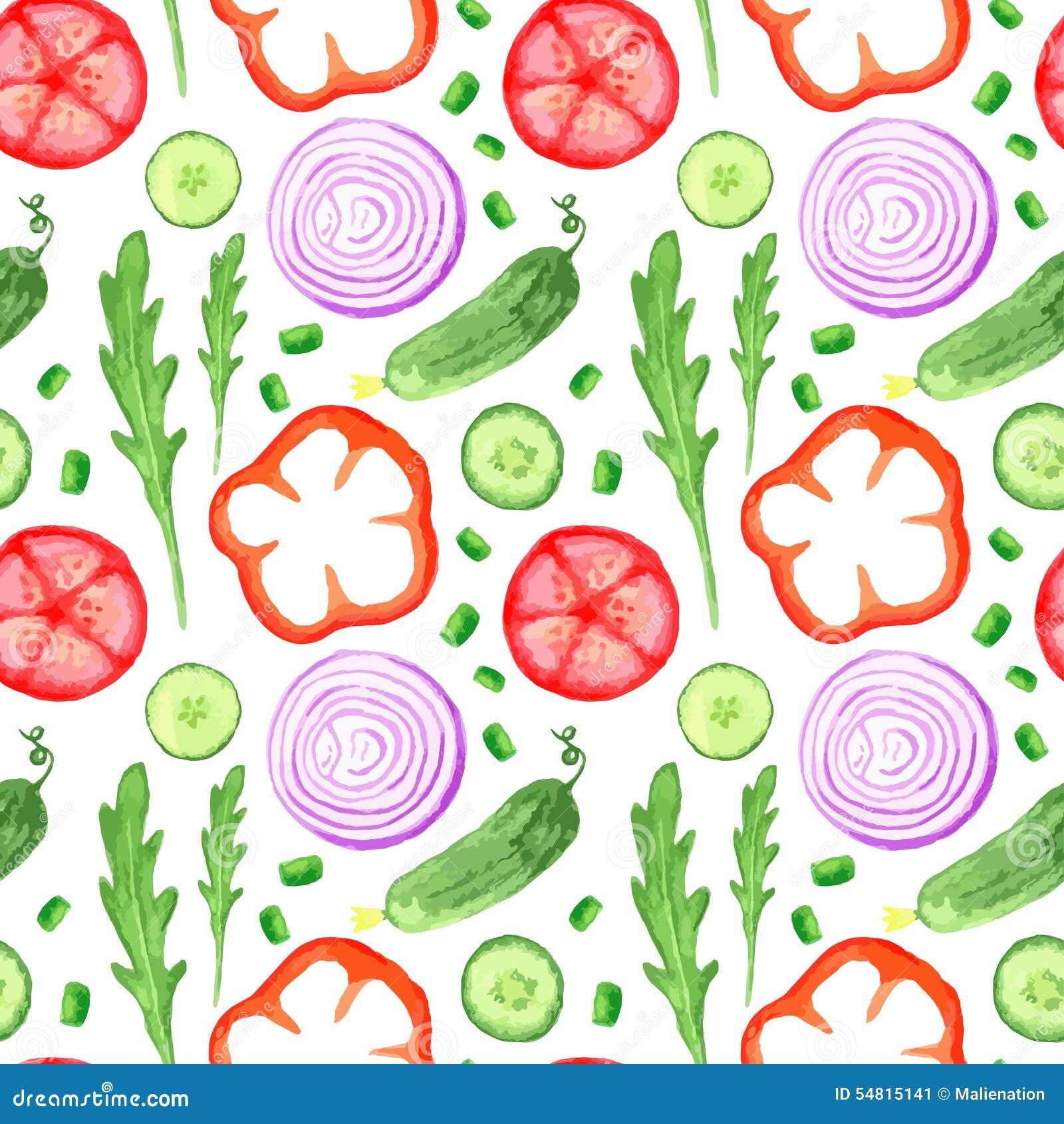 Ręki farby akwareli seanless wzór z warzywami ustawiającymi je miejscowego gospodarstwa rolnego rynku nieociosane ilustracje z ar