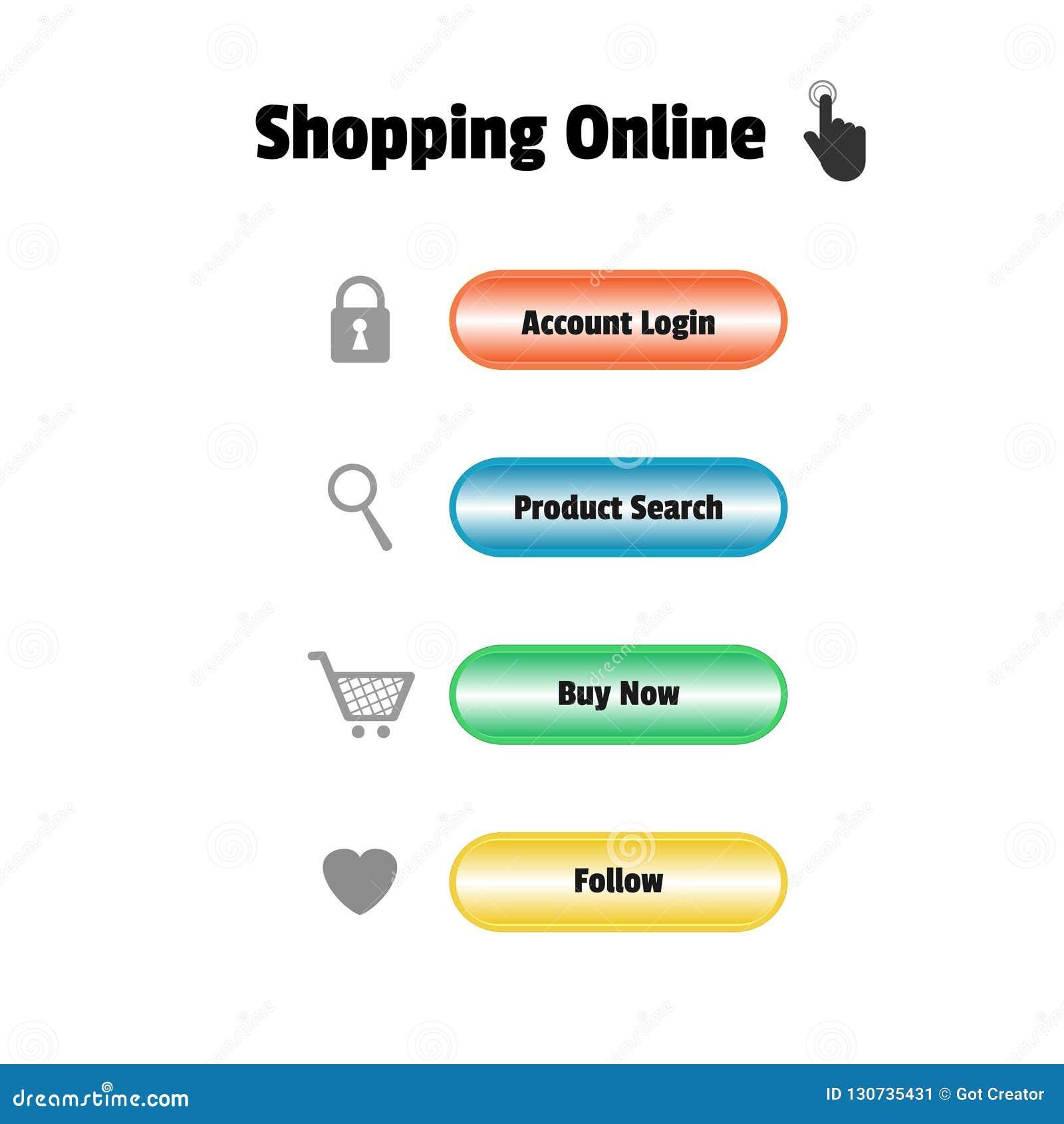Ręki ikony stuknięcia guzik na stronie internetowej shoping