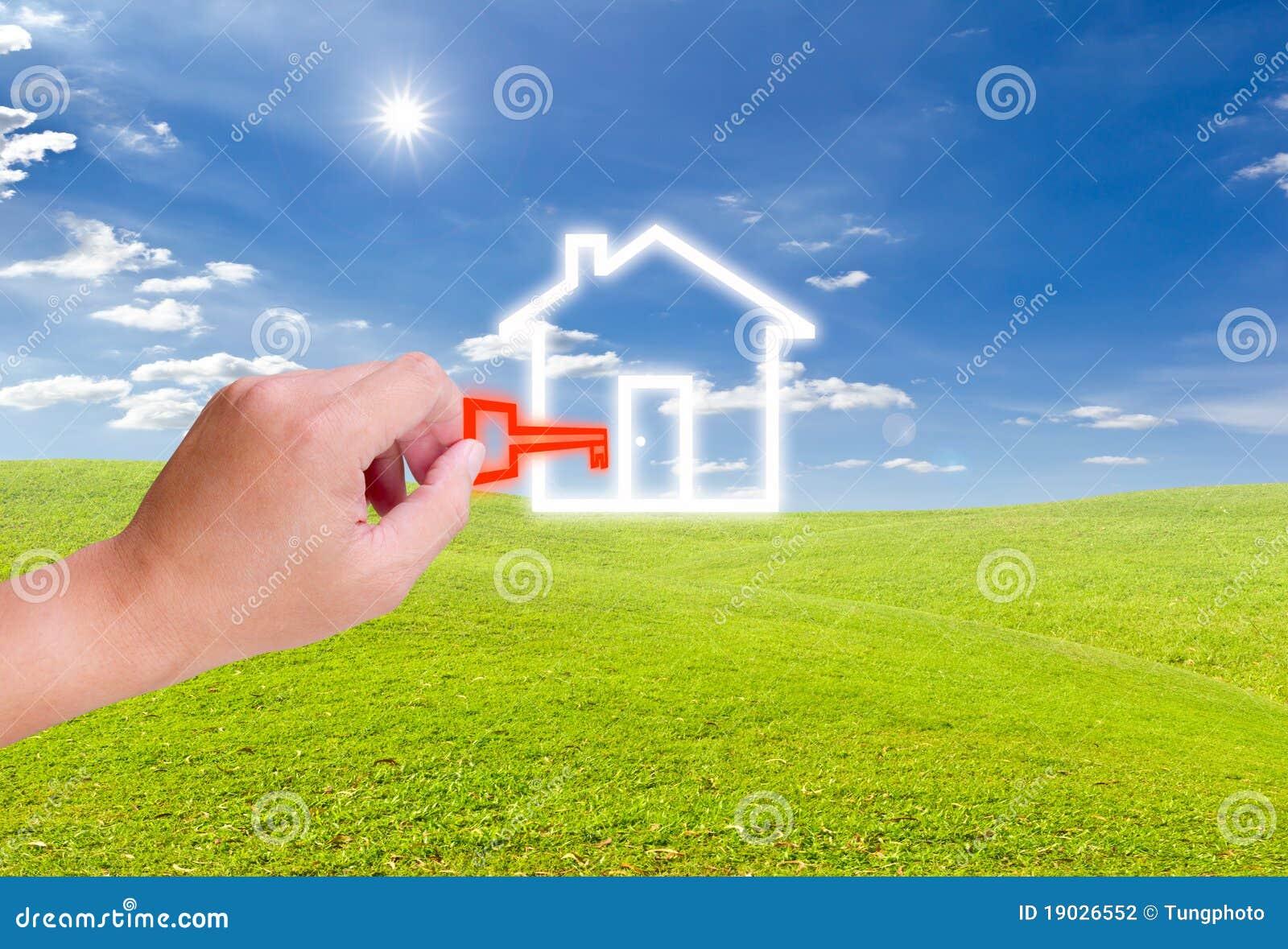 Ręki mienia domu ikony klucz