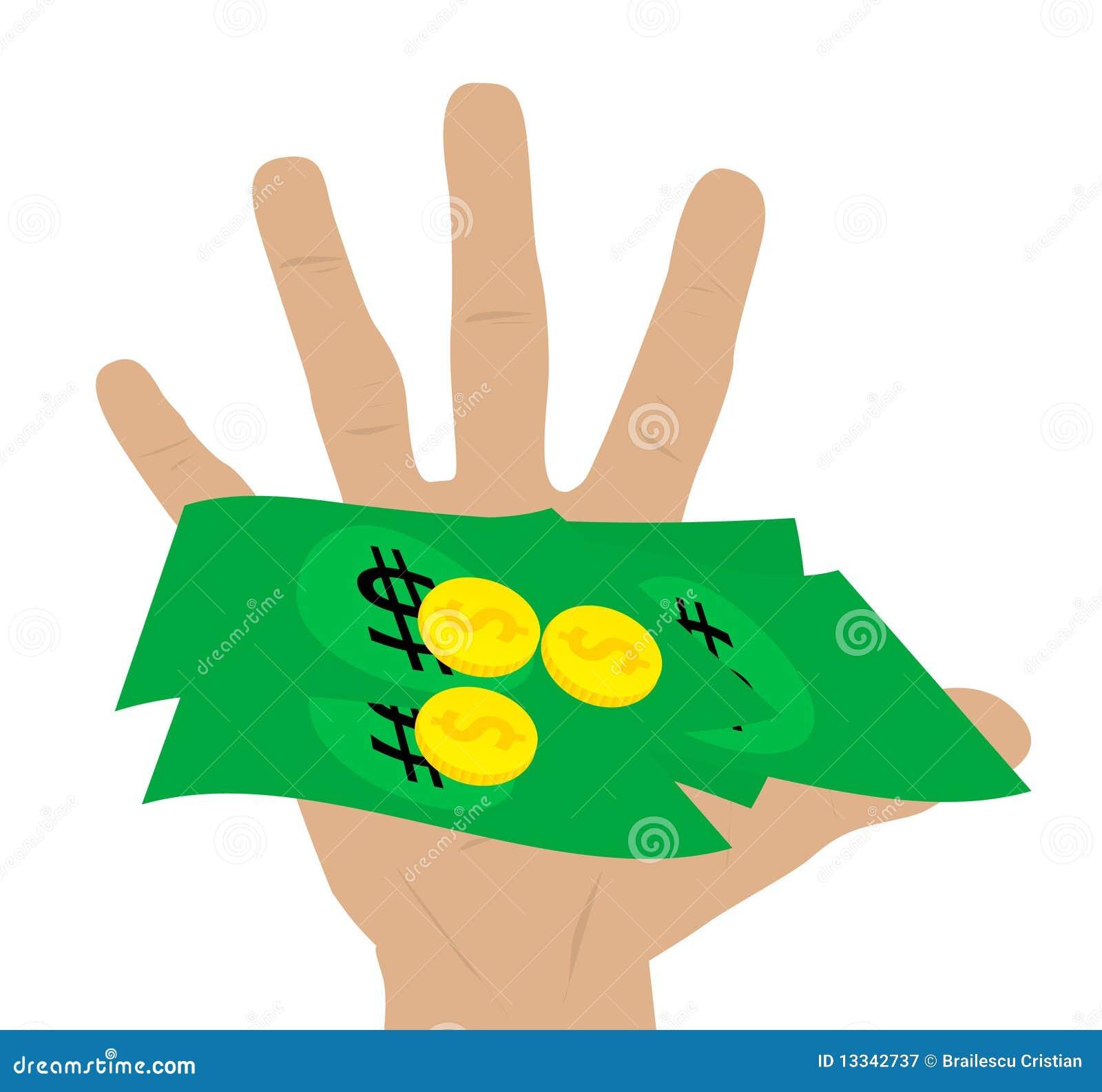 Ręki mienia ilustraci pieniądze