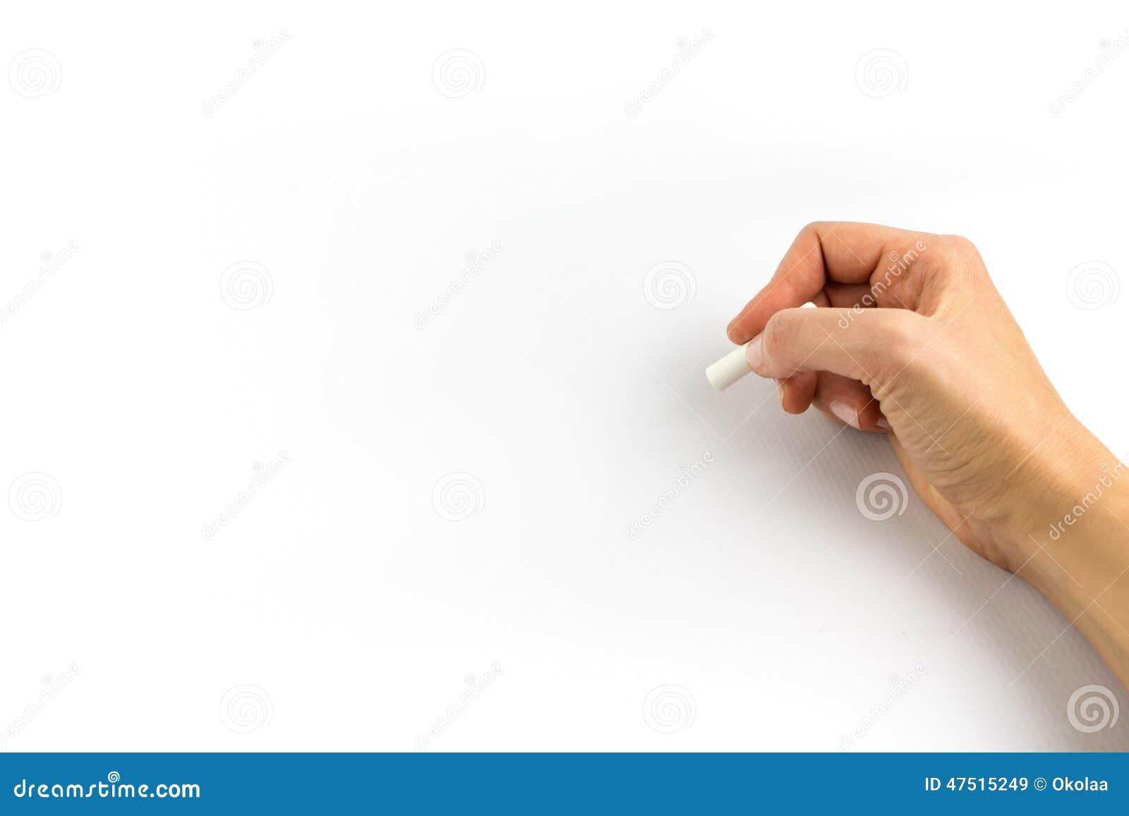 Ręki mienia kreda odizolowywająca na bielu