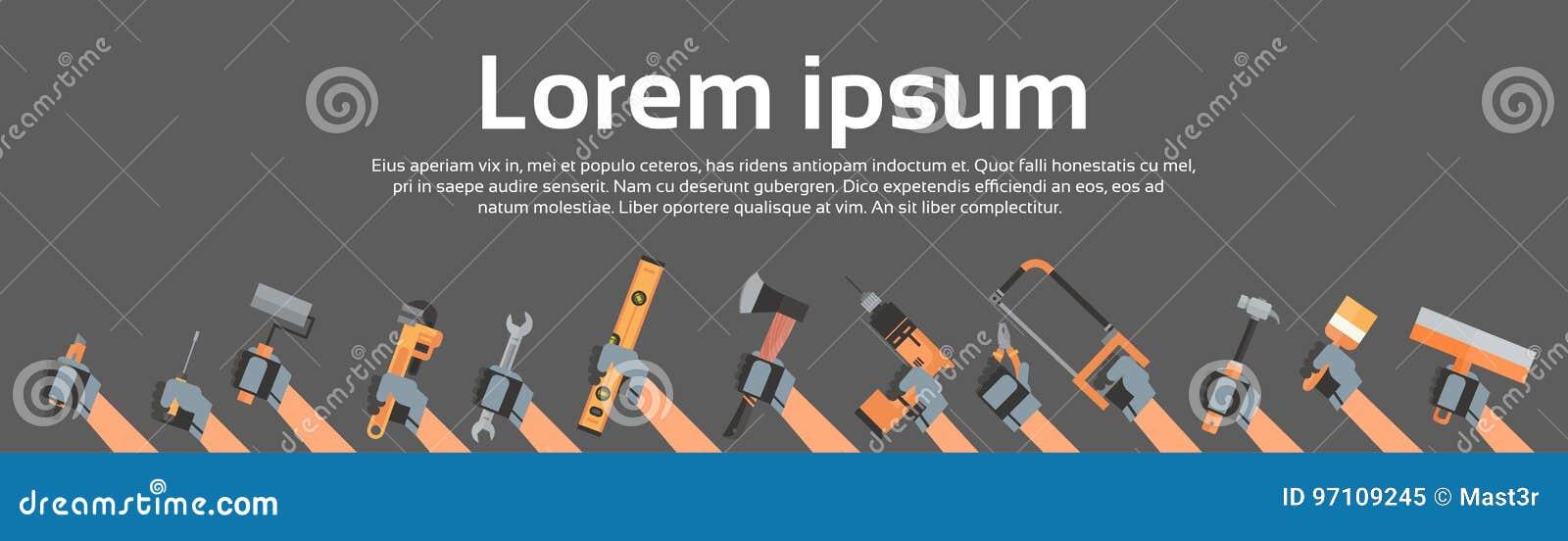 Ręki mienia narzędzia naprawy I budowy Pracujący wyposażenie Nad kopii przestrzenią