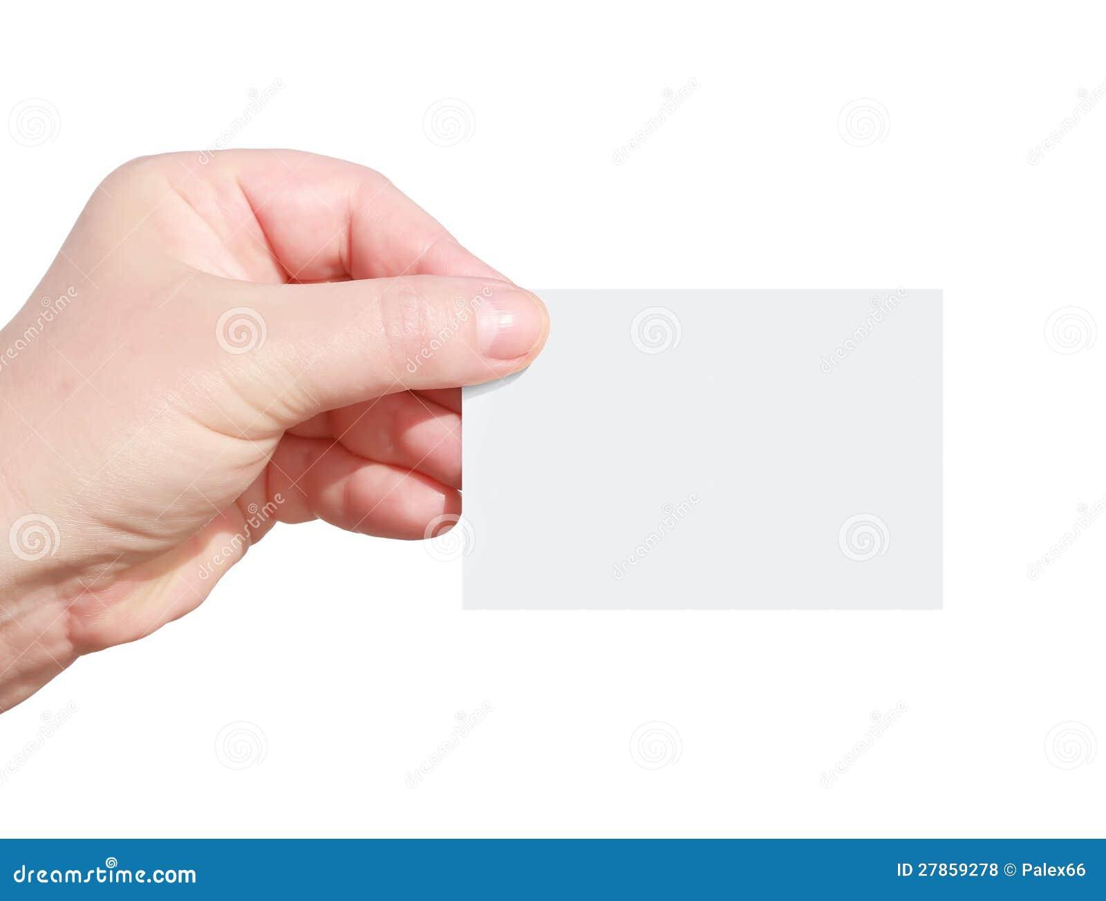 Ręki mienia pustego miejsca wizytówka