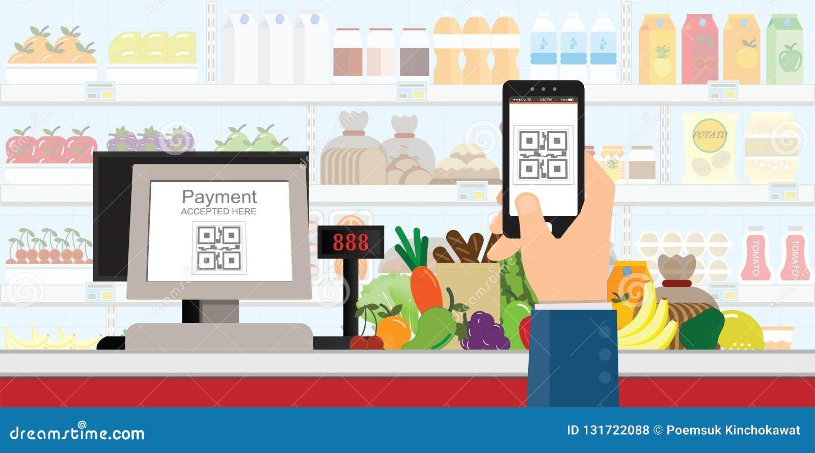 Ręki mienia smartphone skanować QR kodu zapłatę w supermarkecie, detaliczny sklep akceptował cyfrowego wynagrodzenie bez pieniądz