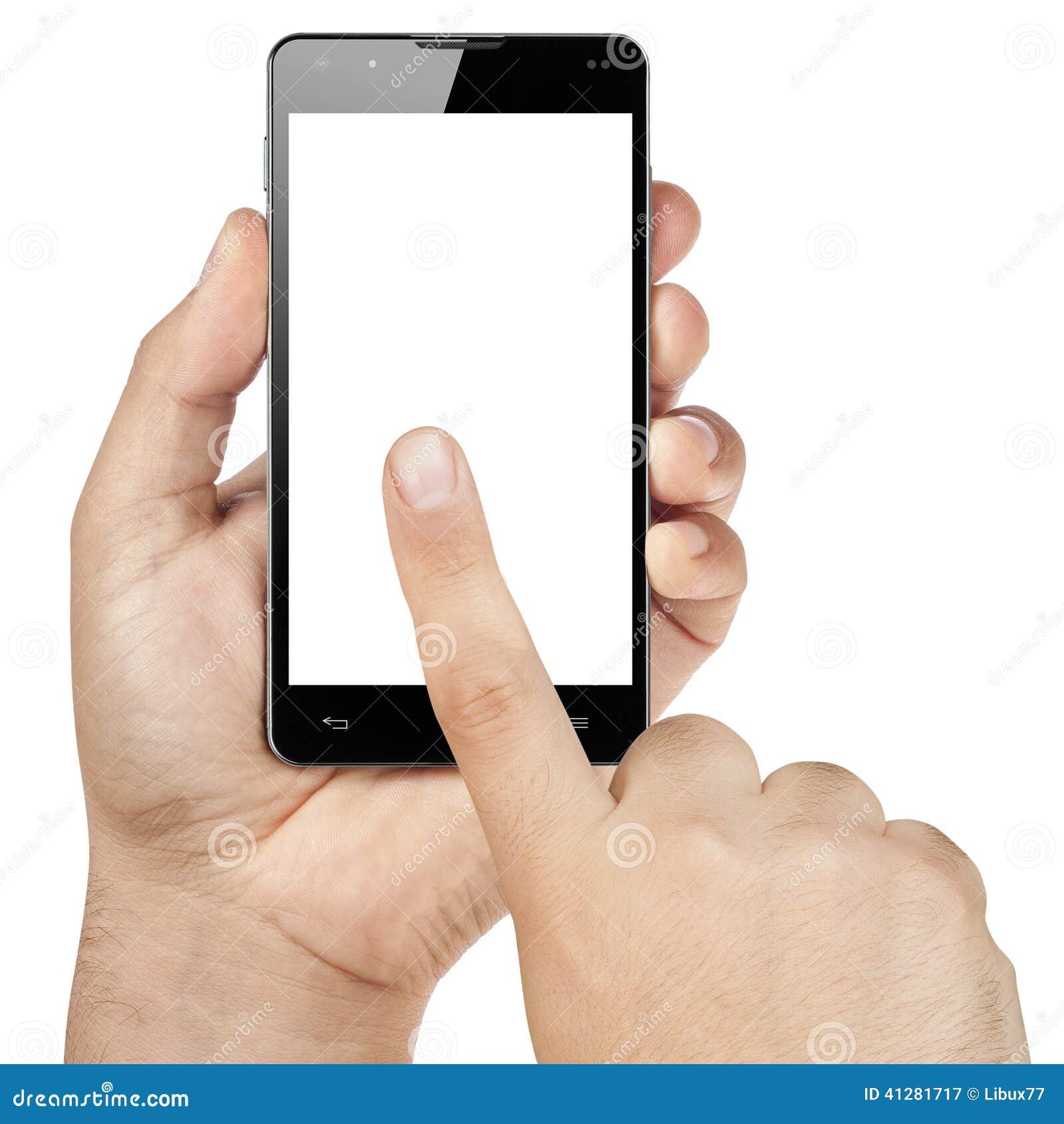 Ręki Pracuje dotyka Smartphone Pustego ekran Isolat