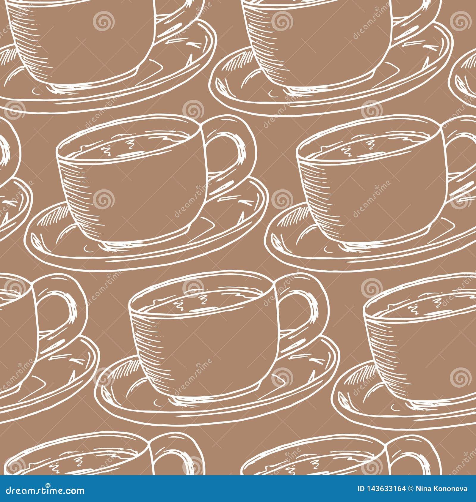 Ręki remisu bezszwowy wzór Filiżanka kawy, herbaciany czas również zwrócić corel ilustracji wektora