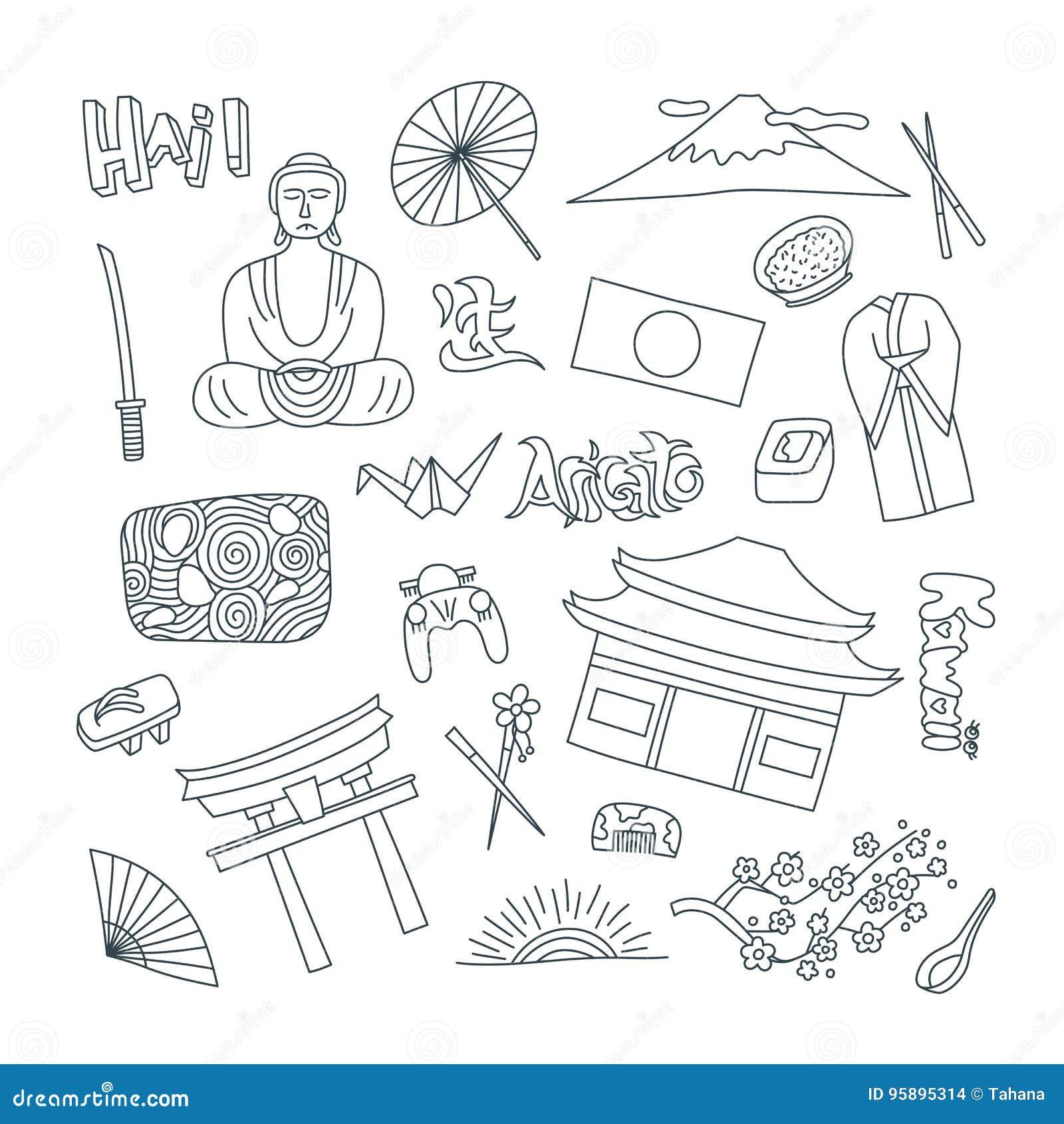 Ręki rysować ikony z Japonia symbolami - Kimonowej Sakura flaga Buddha suszi kamienia ogródu ryżowy origami Majchery, szpilki i