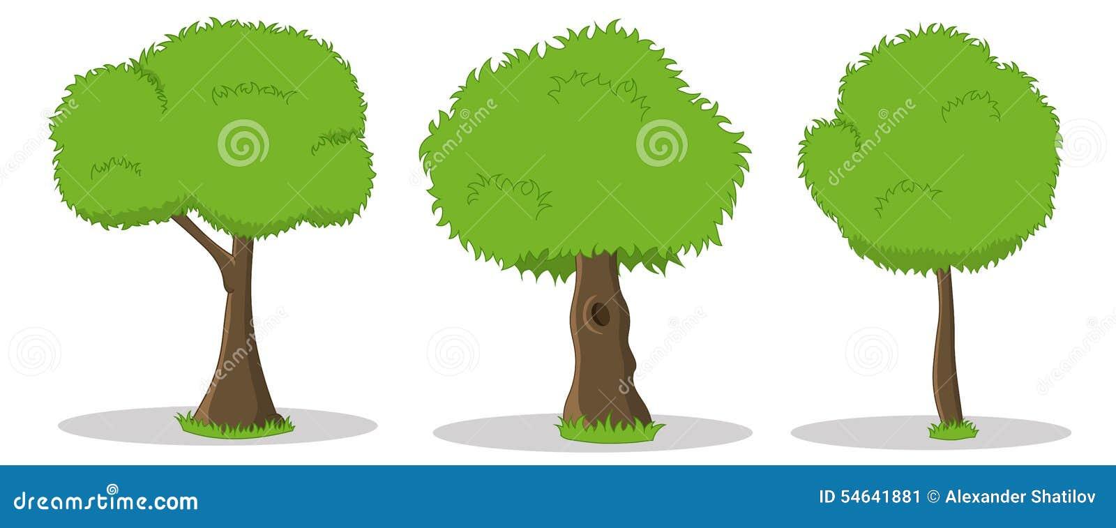 Ręki rysować kreskówek ilustracje zieleni drzewa