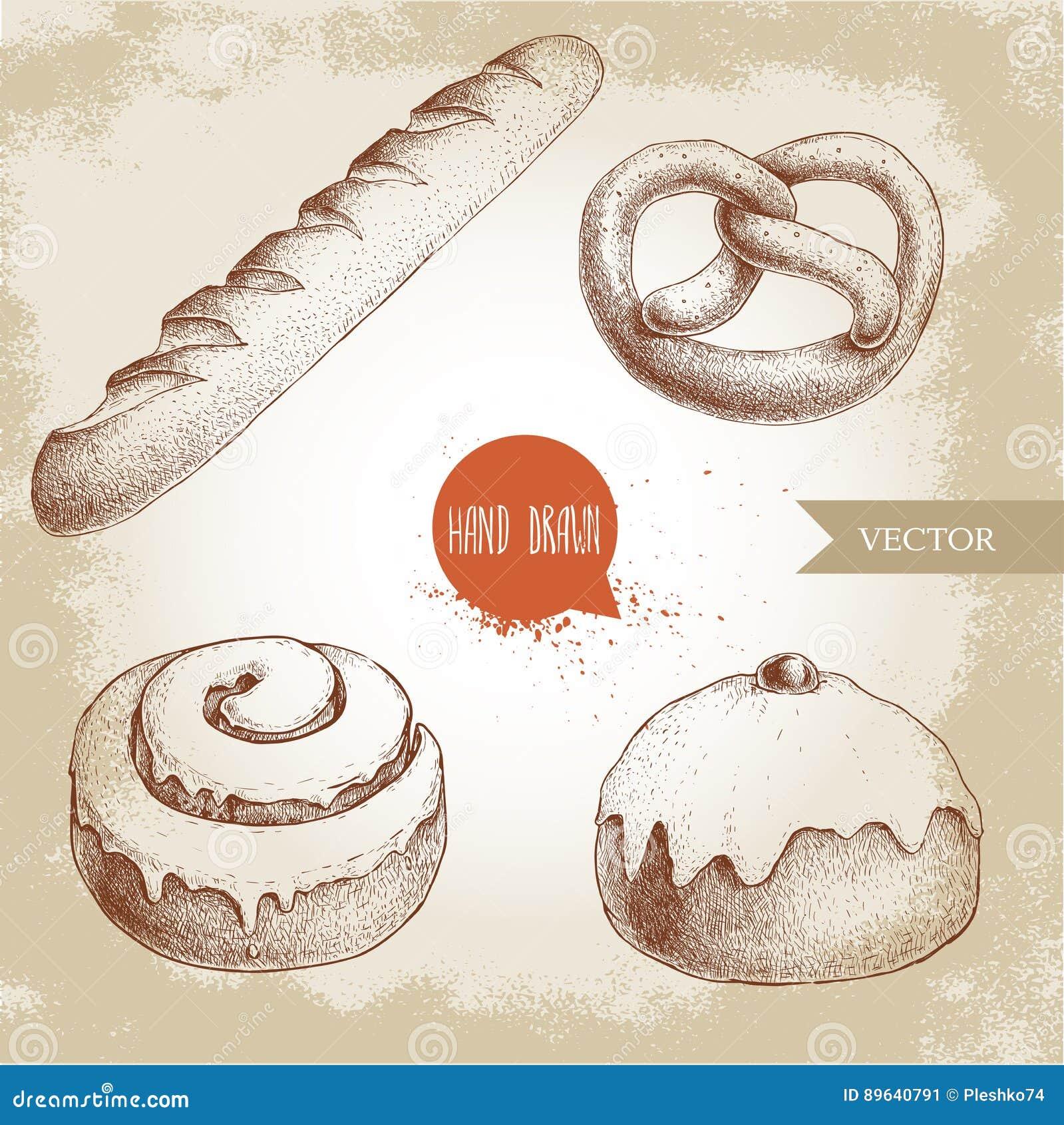 Ręki rysować nakreślenie stylu piekarni towarów ilustracje ustawiać Świeży solony precel, francuski baguette, lukrowa cynamonowa