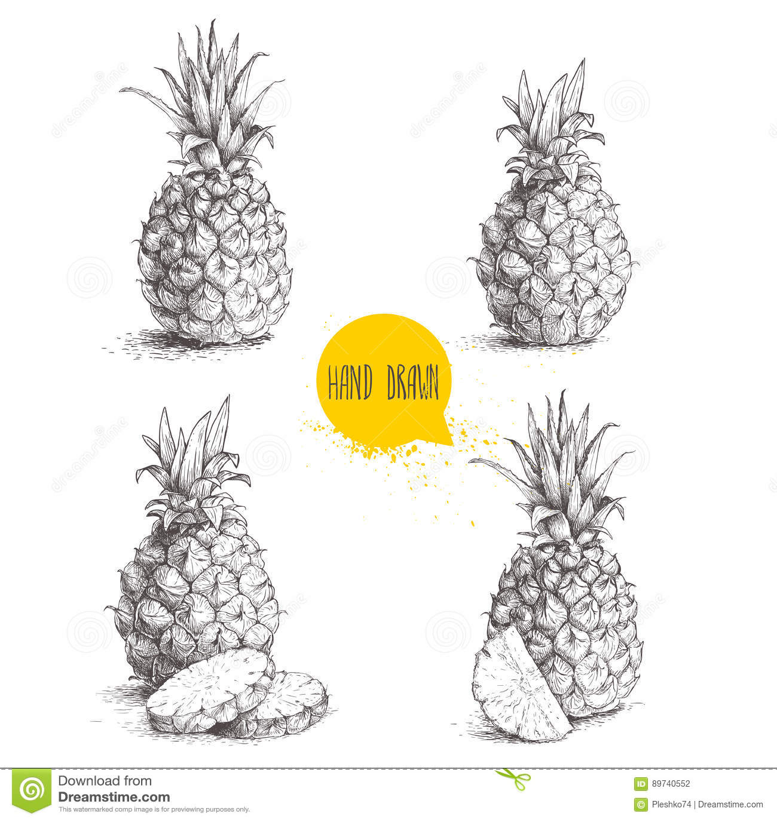 Ręki rysować nakreślenie stylu ustalone ilustracje dojrzali ananasy