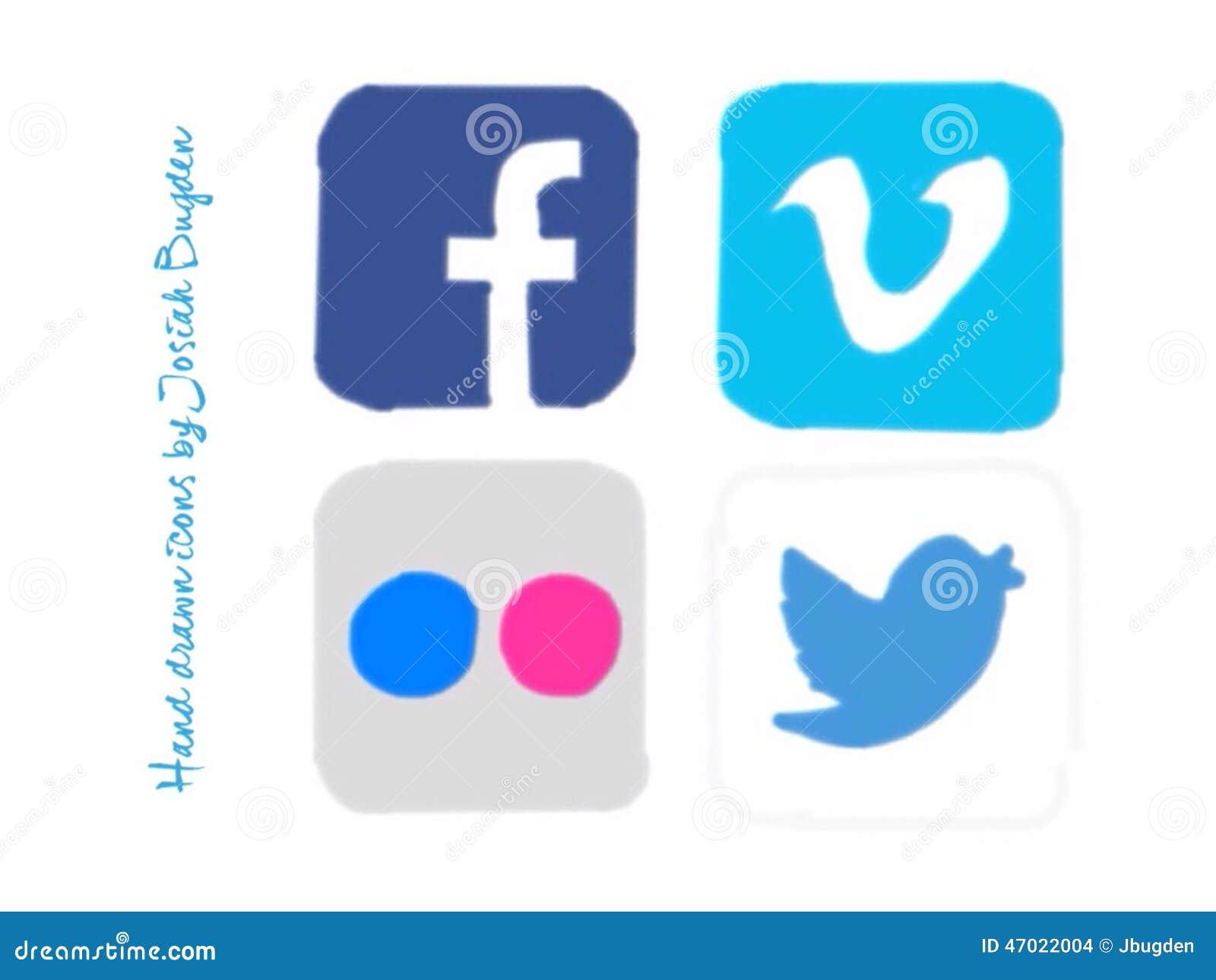 Ręki rysować ogólnospołeczne medialne ikony