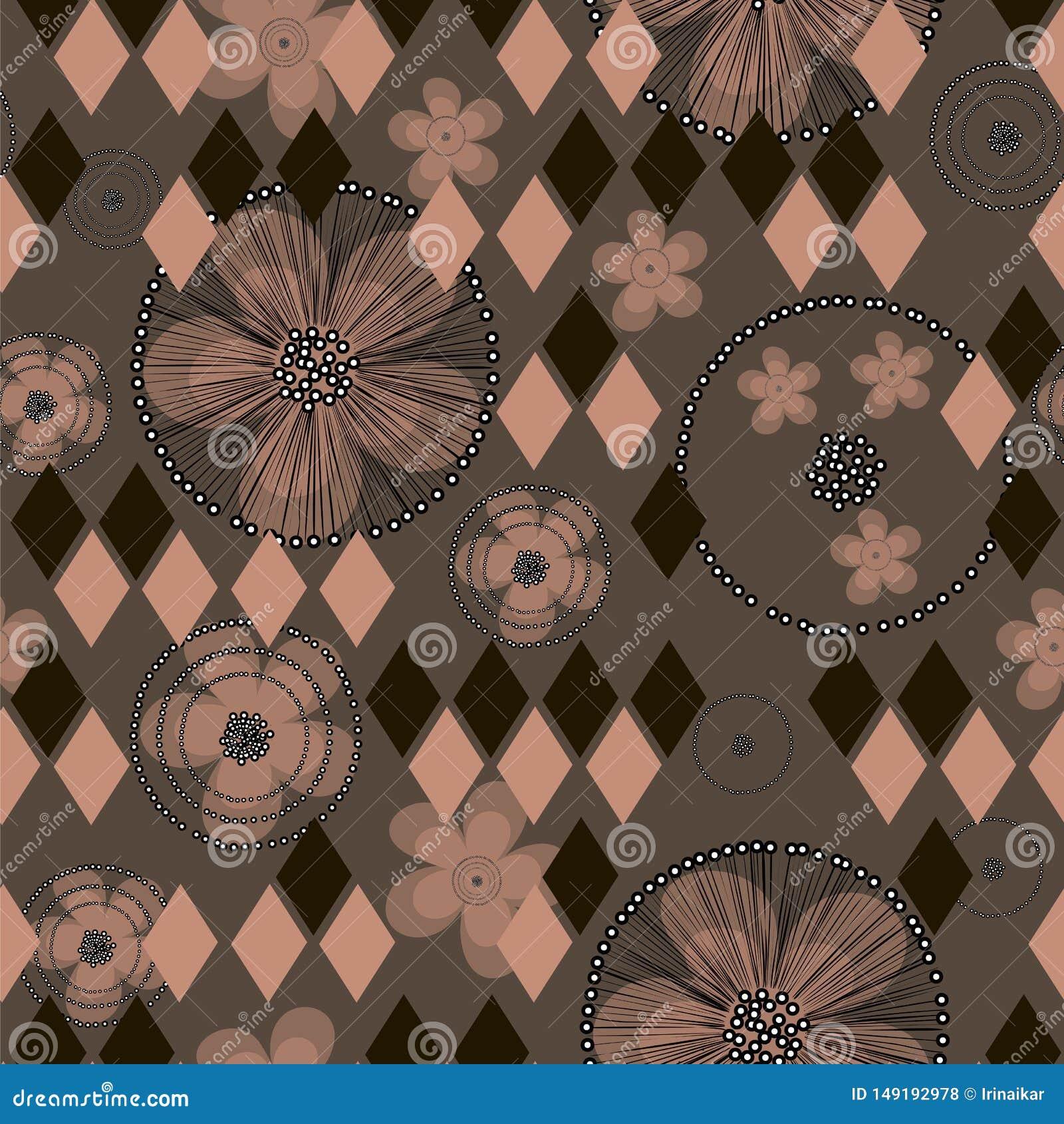 Ręki rysujący abstrakcjonistyczni jaskierów rhombuses na brązu tle i kwiaty