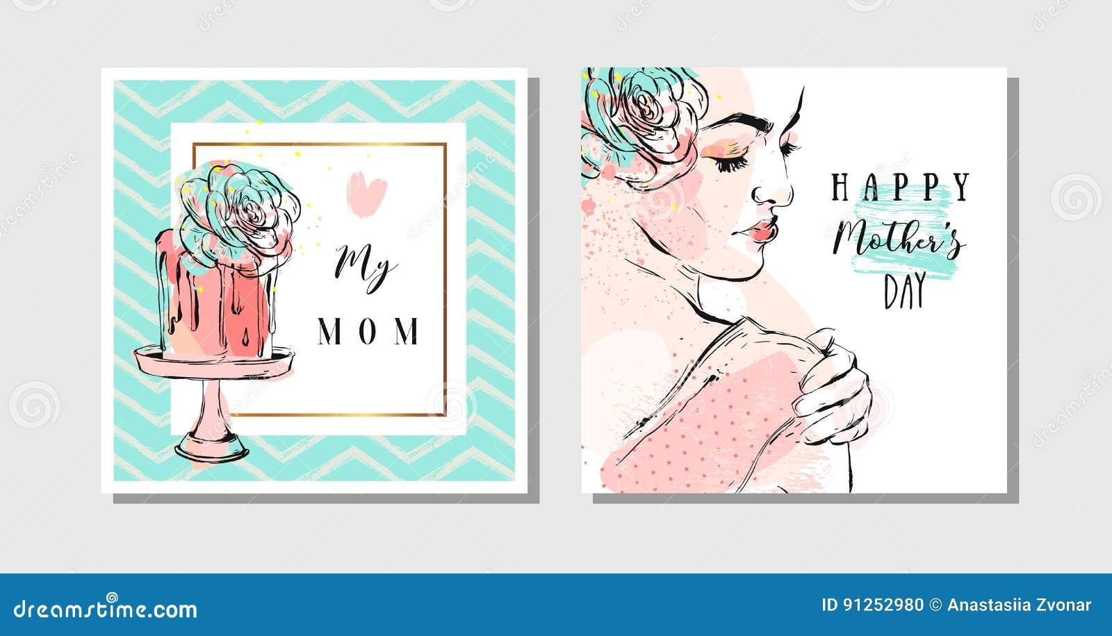 Ręki rysujący wektorowi abstrakcjonistyczni kartka z pozdrowieniami ustawiający z Szczęśliwą matka dnia kaligrafią i kobiety post
