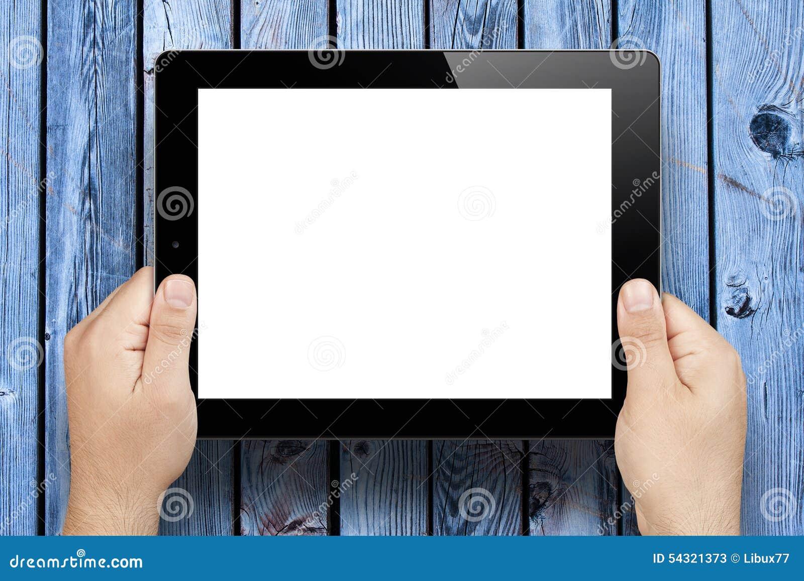Ręki Trzyma Pustego ekranu pastylki komputer osobistego Drewniany