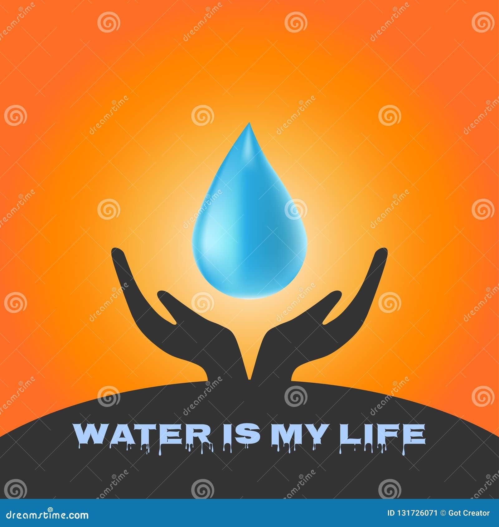 Ręki trzyma wodę opuszczają w wodnym oszczędzania pojęciu