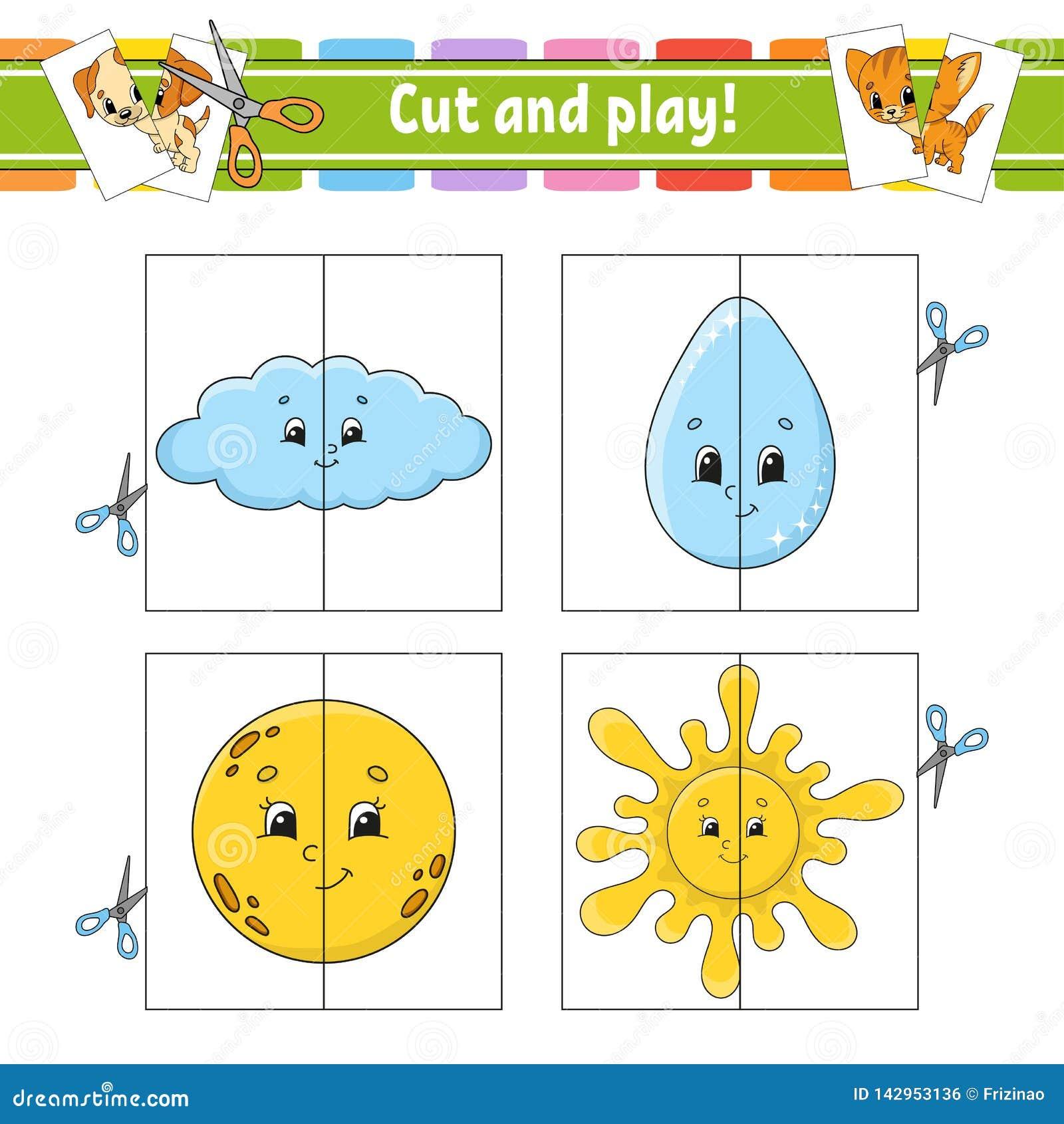 Rżnięta sztuka tła kart błysk odizolowywający przedmiota biel Kolor łamigłówka Edukacji rozwija worksheet Aktywności strona Gra d