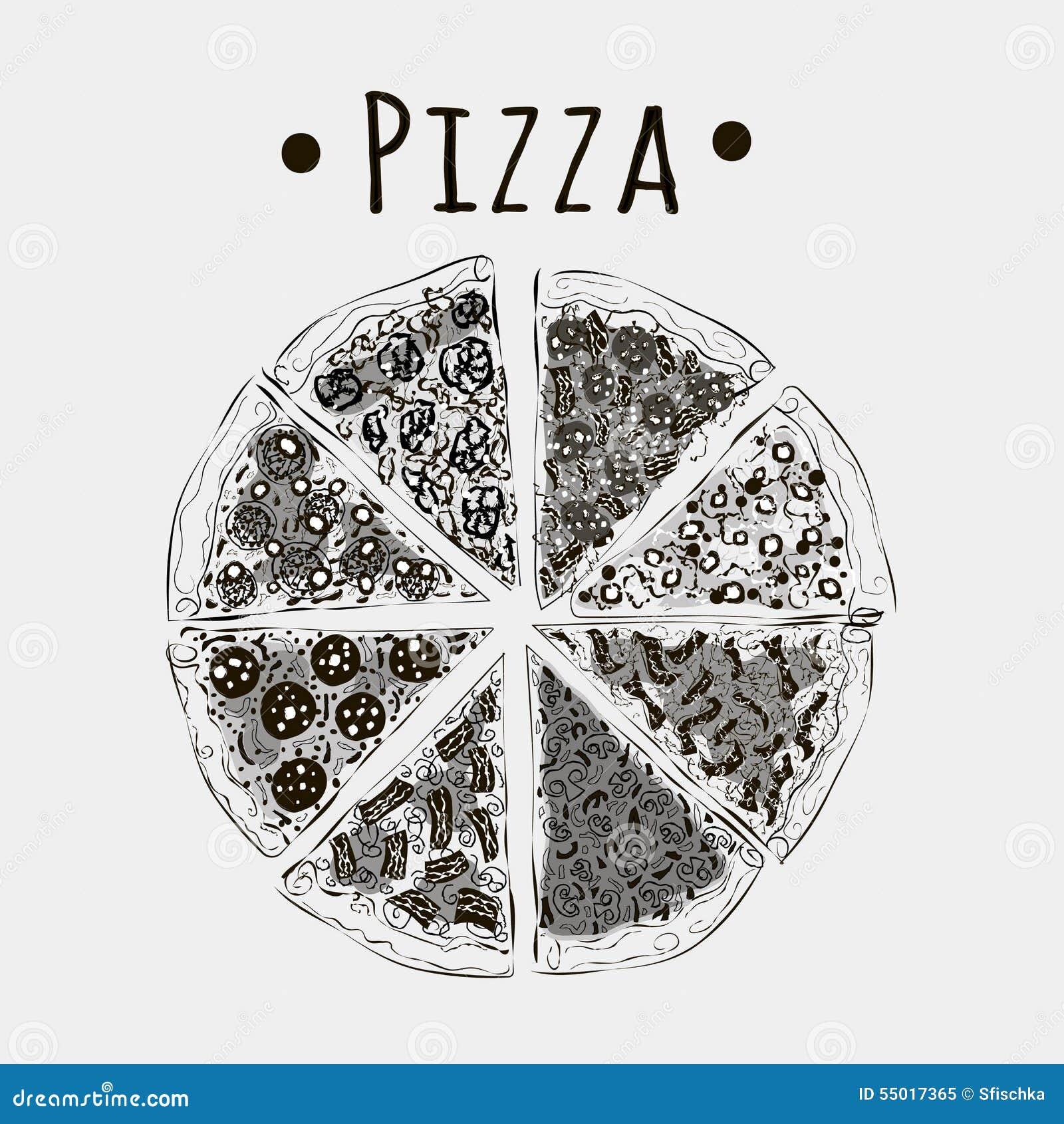 Rżnięte pizze w kawałki różni rodzaje czernią na bielu