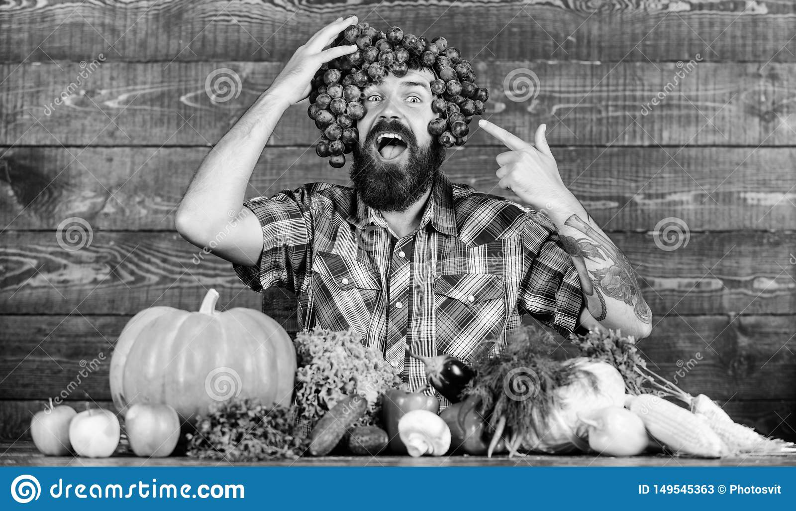 R Ξύλινο υπόβαθρο σταφυλιών λαβής ατόμων Γενειοφόρος τύπος της Farmer τα homegrown σταφύλια συγκομιδών που τίθενται με στο κεφάλι
