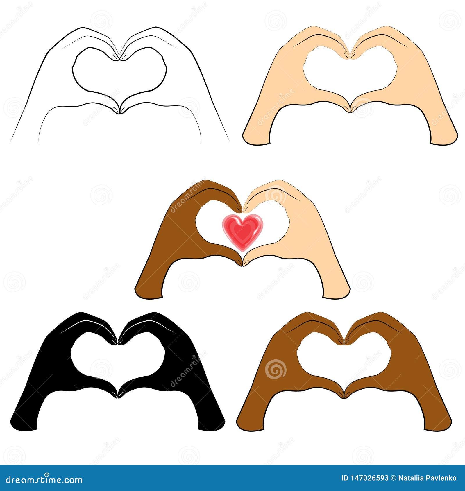 R Τα ανθρώπινα χέρια είναι διπλωμένα με μορφή μιας καρδιάς και μιας κόκκινης καρδιάς Άνθρωποι των διαφορετικών υπηκοοτήτων Ημέρα