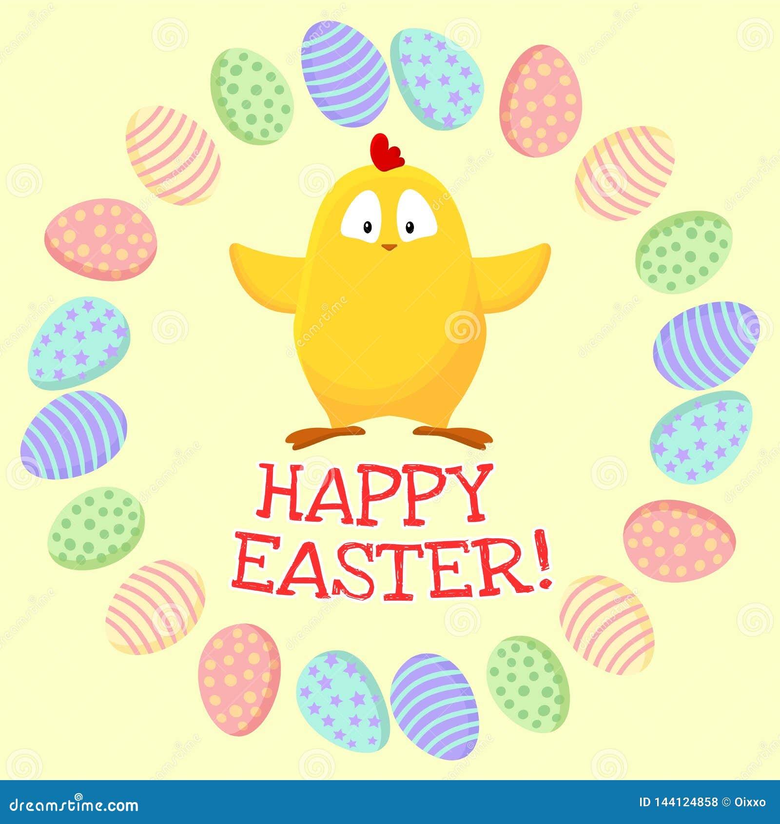 R Χαριτωμένος λίγο κίτρινο κοτόπουλο σε ένα στεφάνι των αυγών Πάσχας