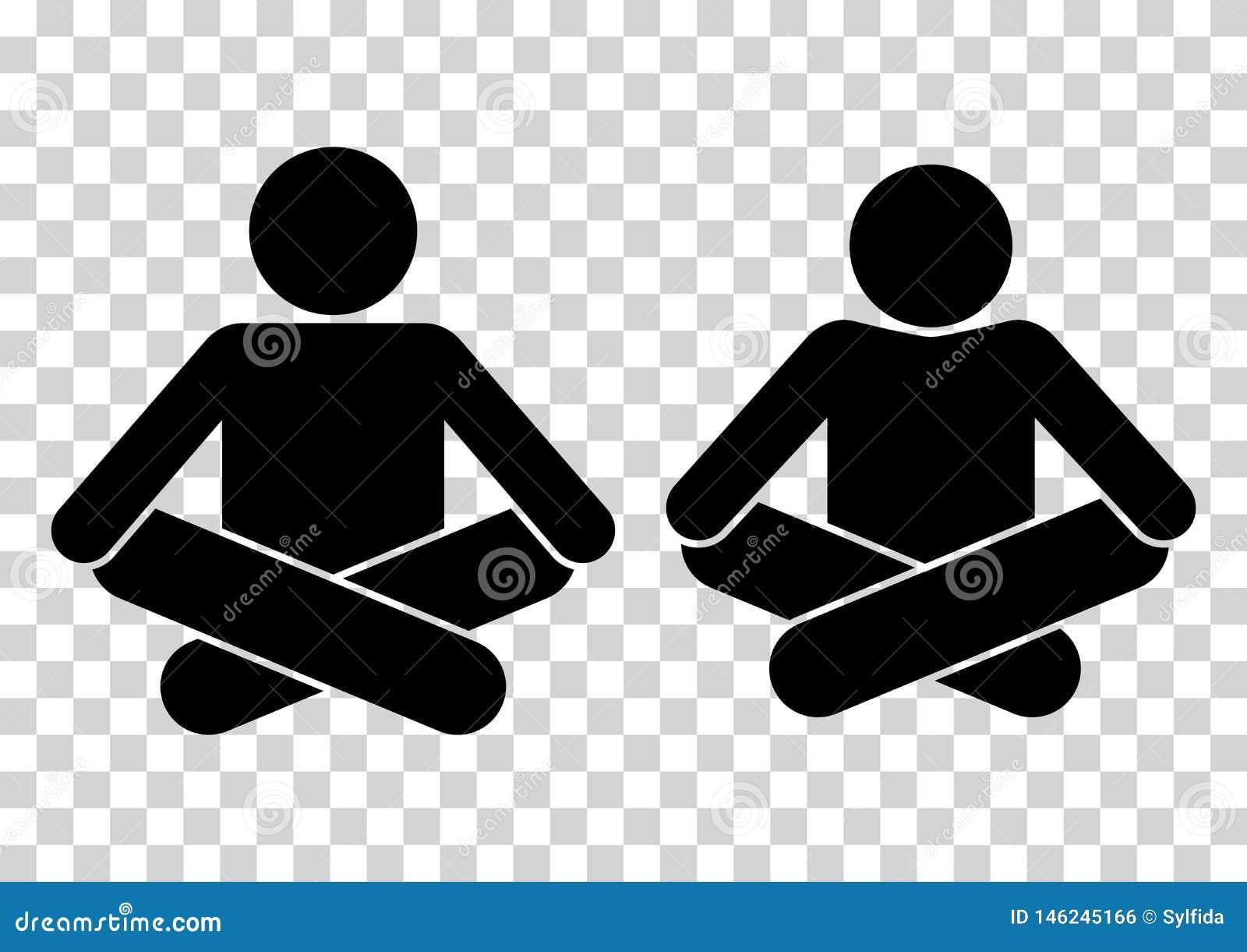R Раздумье Значок йоги Черные силуэты r