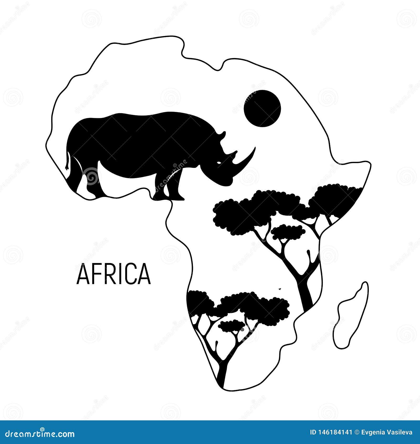 настоящее африка картинка материка черно белая мультяшные татуировки